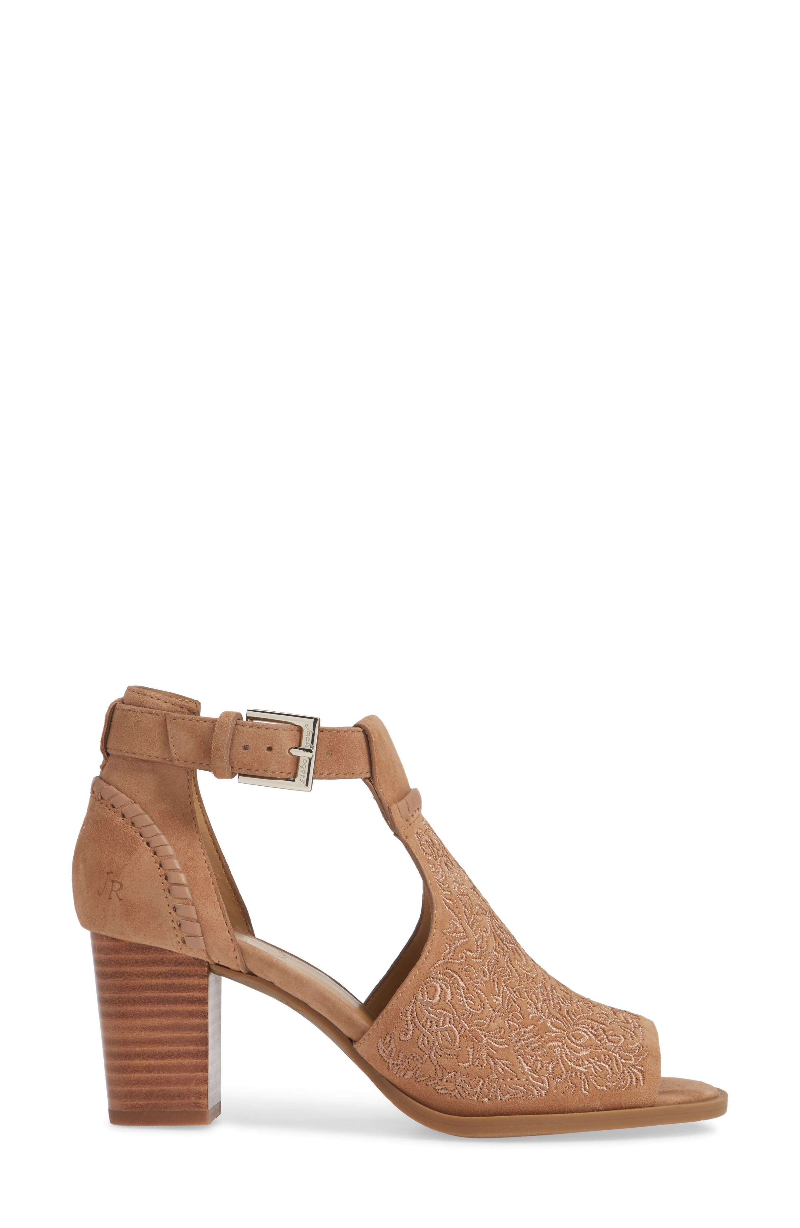 Cameron Block Heel Sandal,                             Alternate thumbnail 3, color,                             BROWN SUEDE