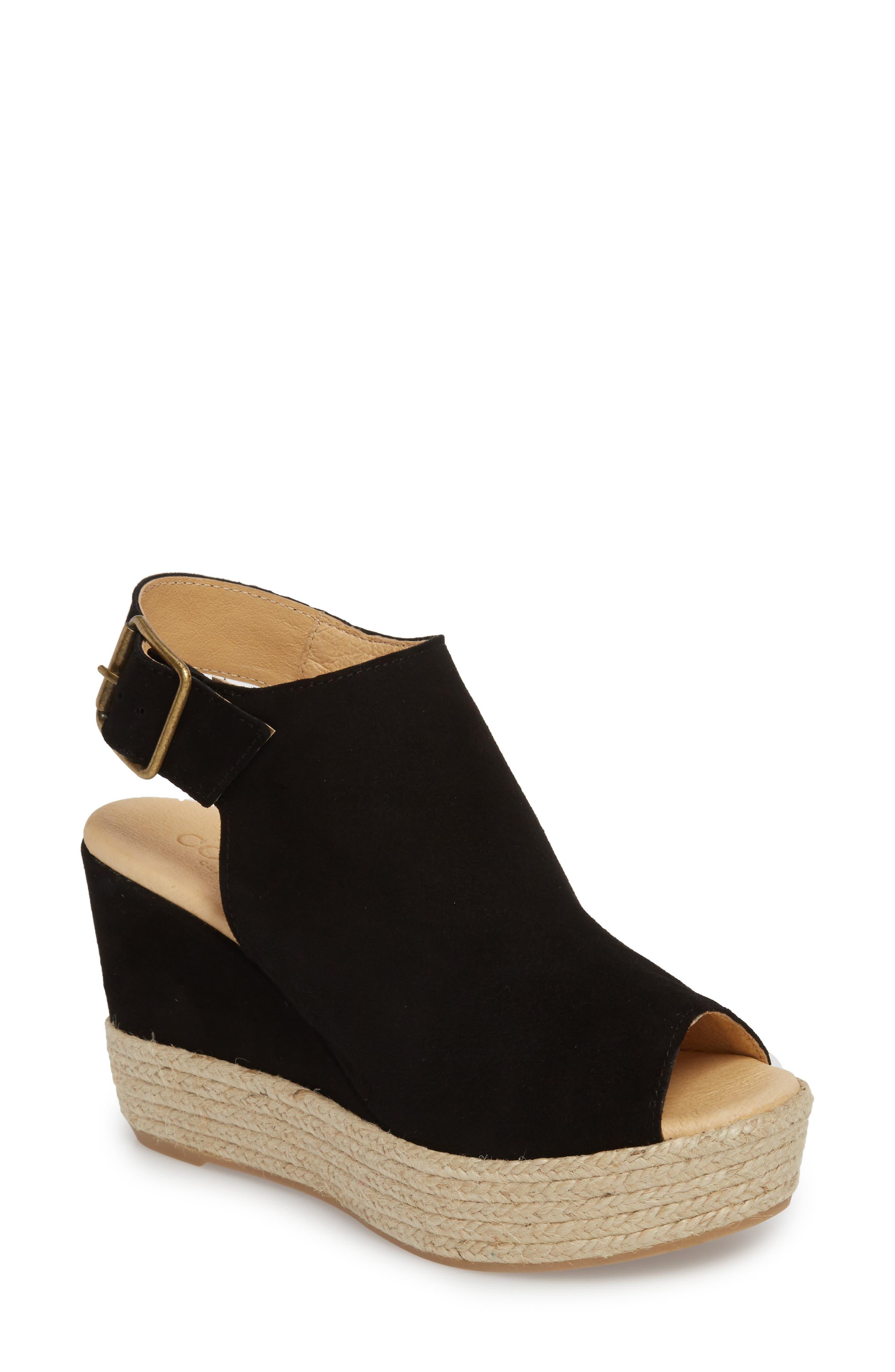 Elisse Epadrille Wedge Sandal,                         Main,                         color, BLACK SUEDE