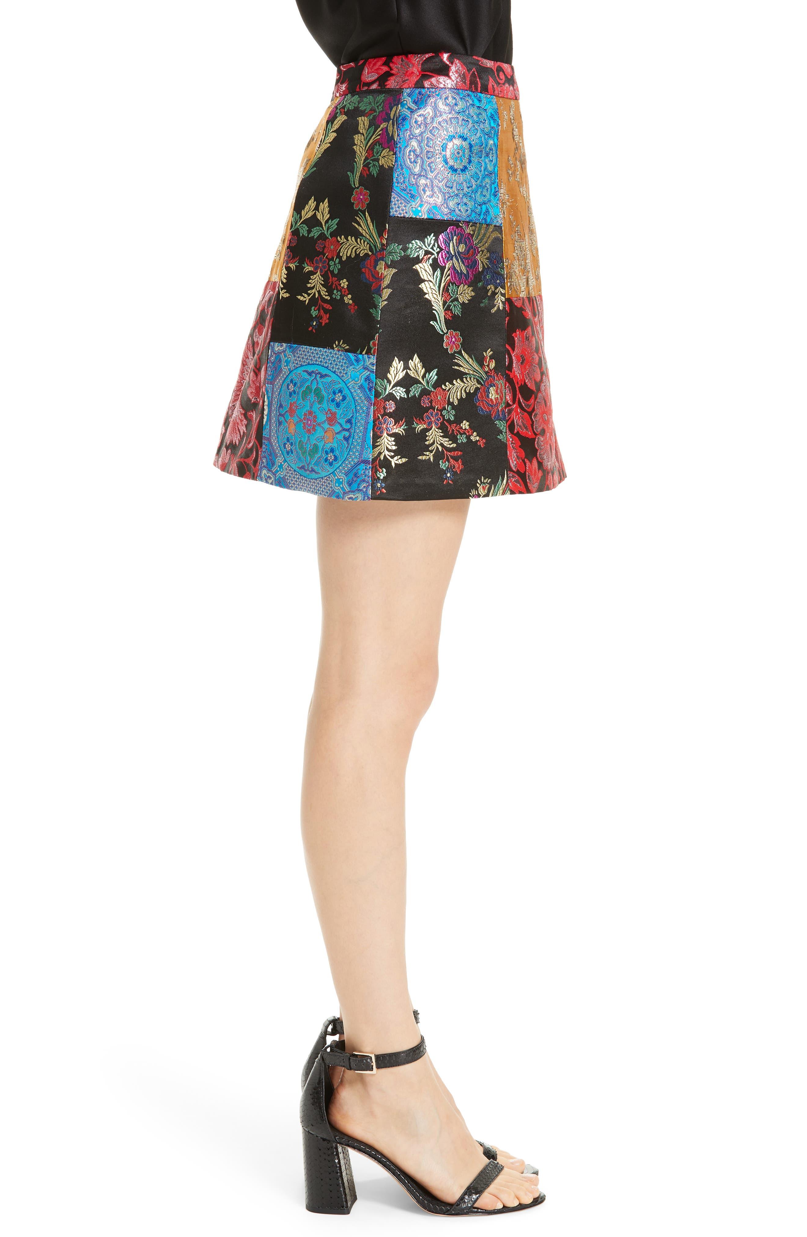 Riley Patchwork Miniskirt,                             Alternate thumbnail 3, color,                             BLACK MULTI