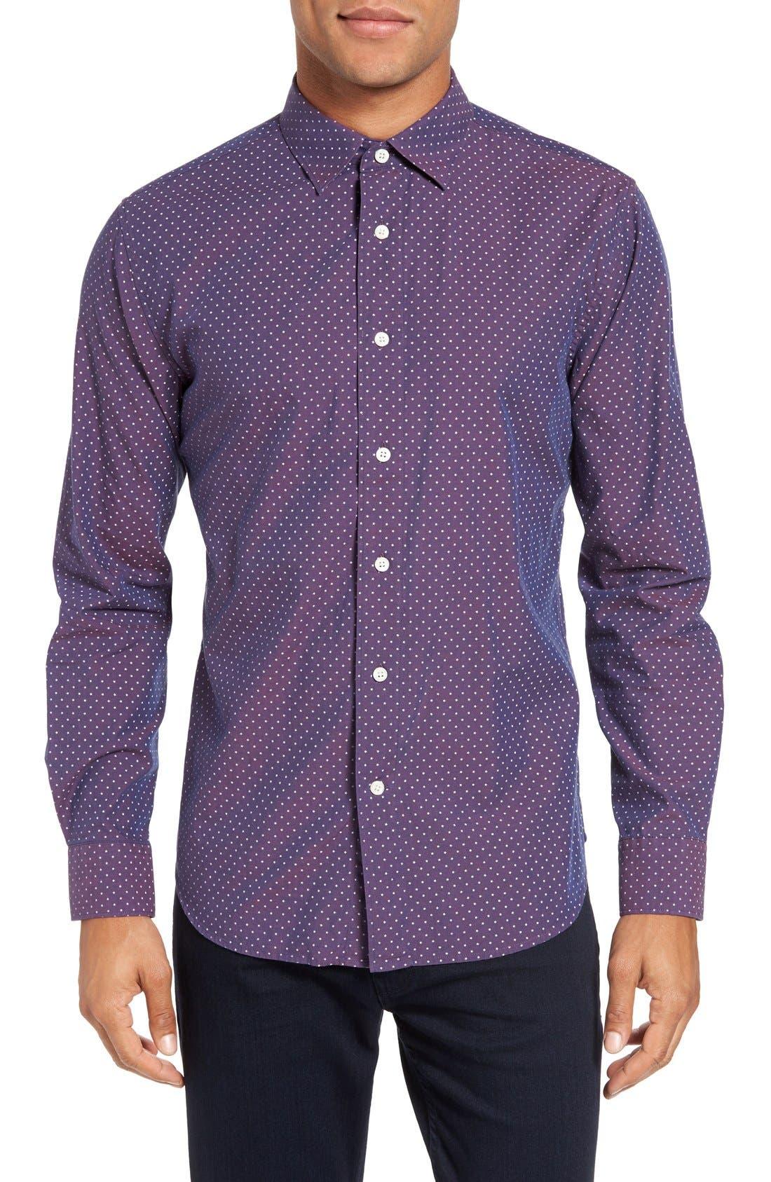 Slim Fit Star Print Sport Shirt,                         Main,                         color, 930