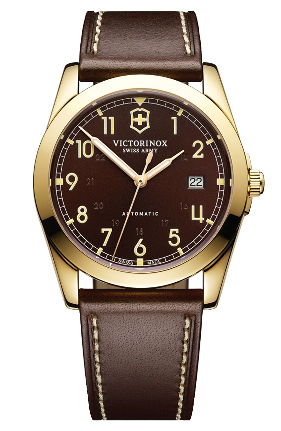 VICTORINOX SWISS ARMY<SUP>®</SUP> 'Infantry' Automatic Leather Strap Watch, 40mm, Main, color, 200