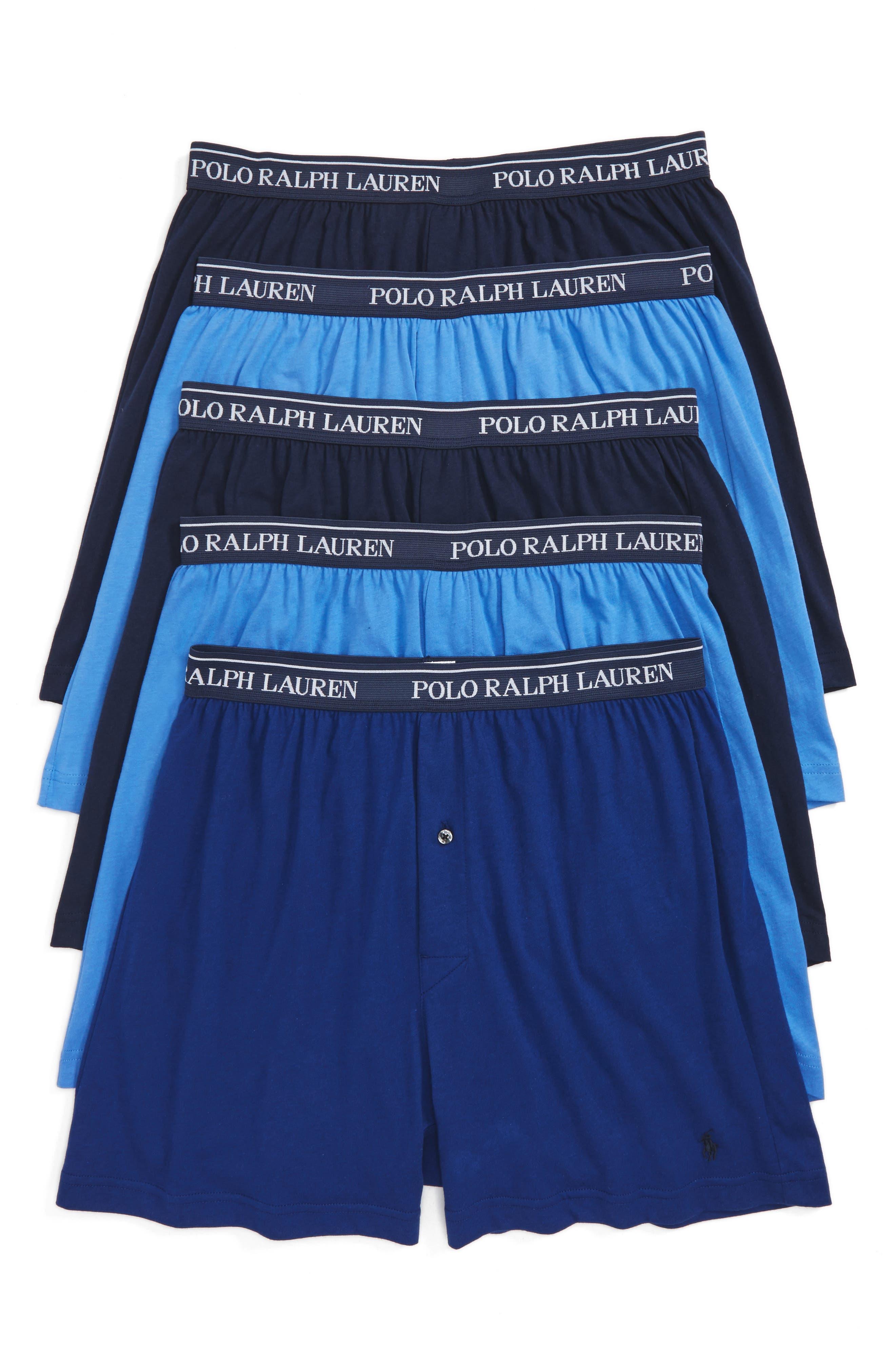 5-Pack Cotton Boxers,                         Main,                         color, BLUE/ ROYAL BLUE/ NAVY