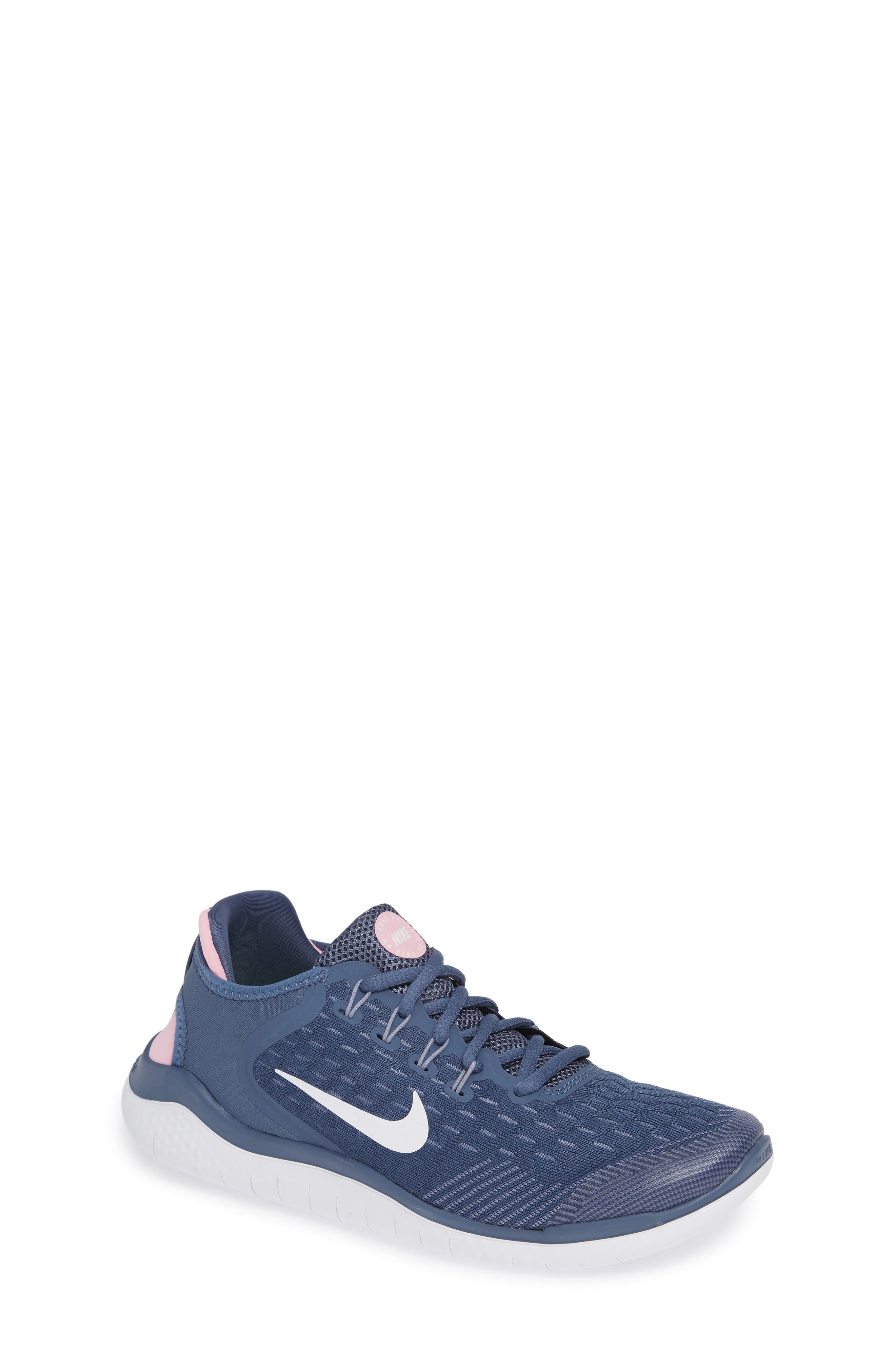 Free RN 2018 Running Shoe,                         Main,                         color, BLUE/ WHITE/ SLATE/ PINK