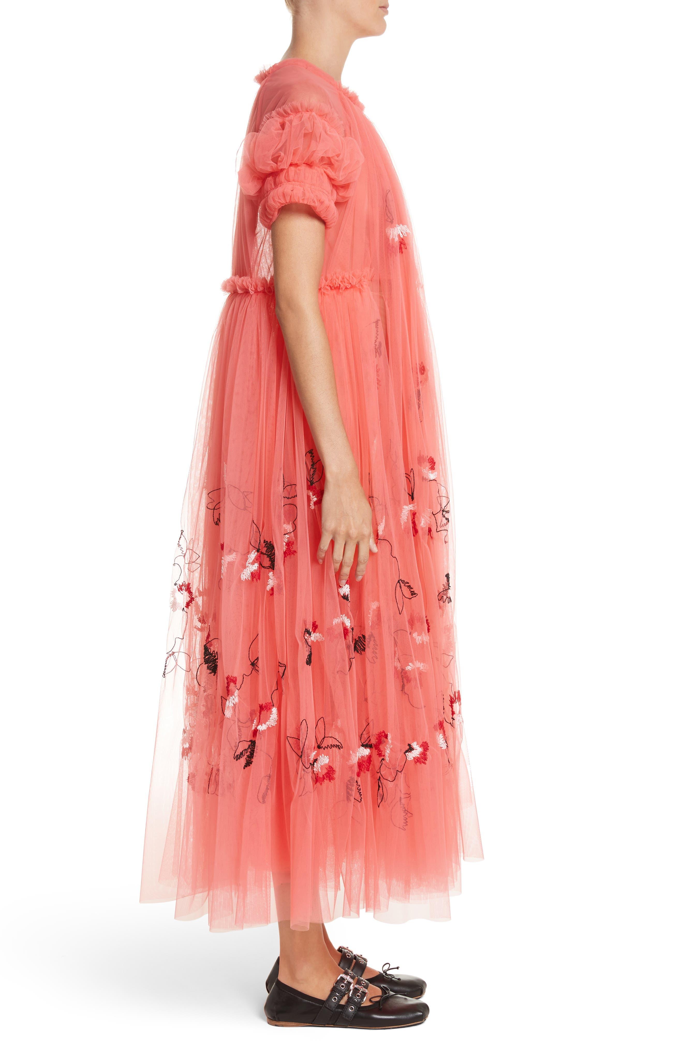 Doris Embroidered Tulle Dress,                             Alternate thumbnail 3, color,                             950