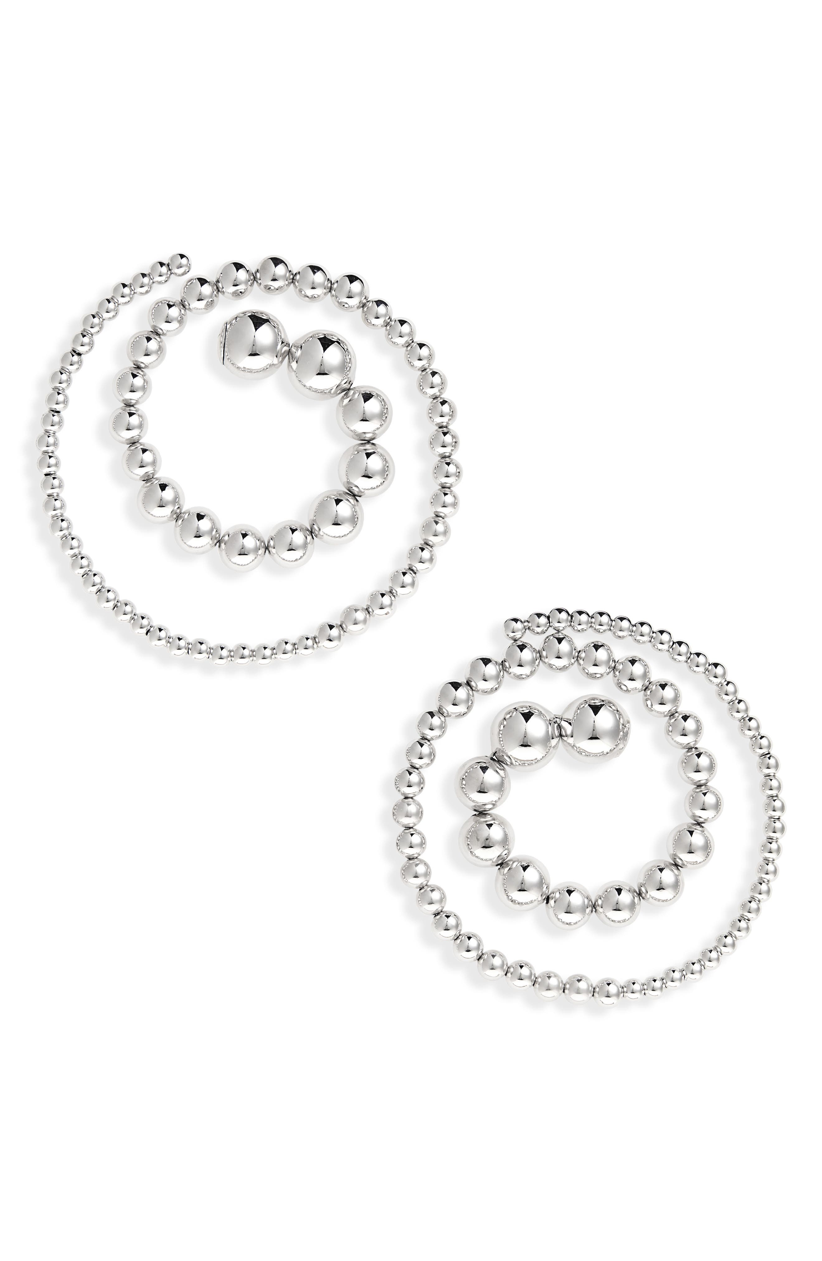 Spiral Ball Chain Earrings,                             Main thumbnail 1, color,                             SILVER