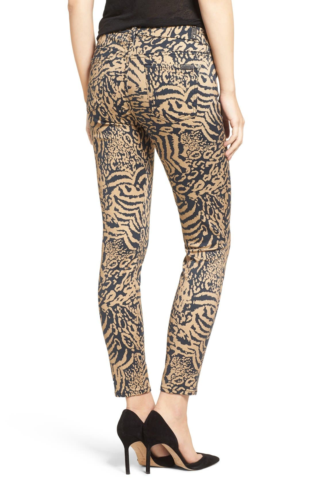 Leopard Print Ankle Skinny Jeans,                             Alternate thumbnail 2, color,                             004