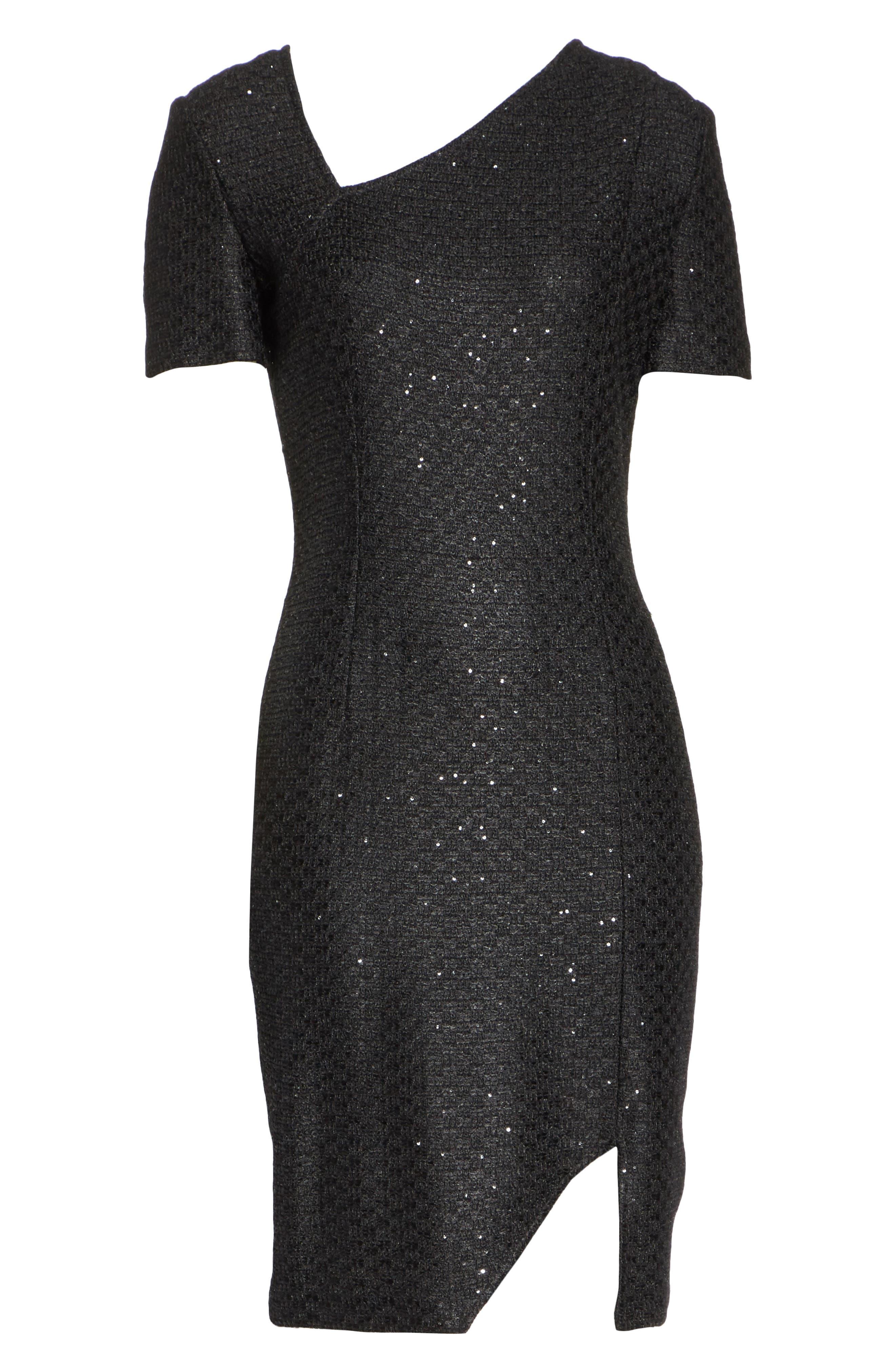 Shimmer Sequin Knit Asymmetrical Dress,                             Alternate thumbnail 7, color,                             CAVIAR