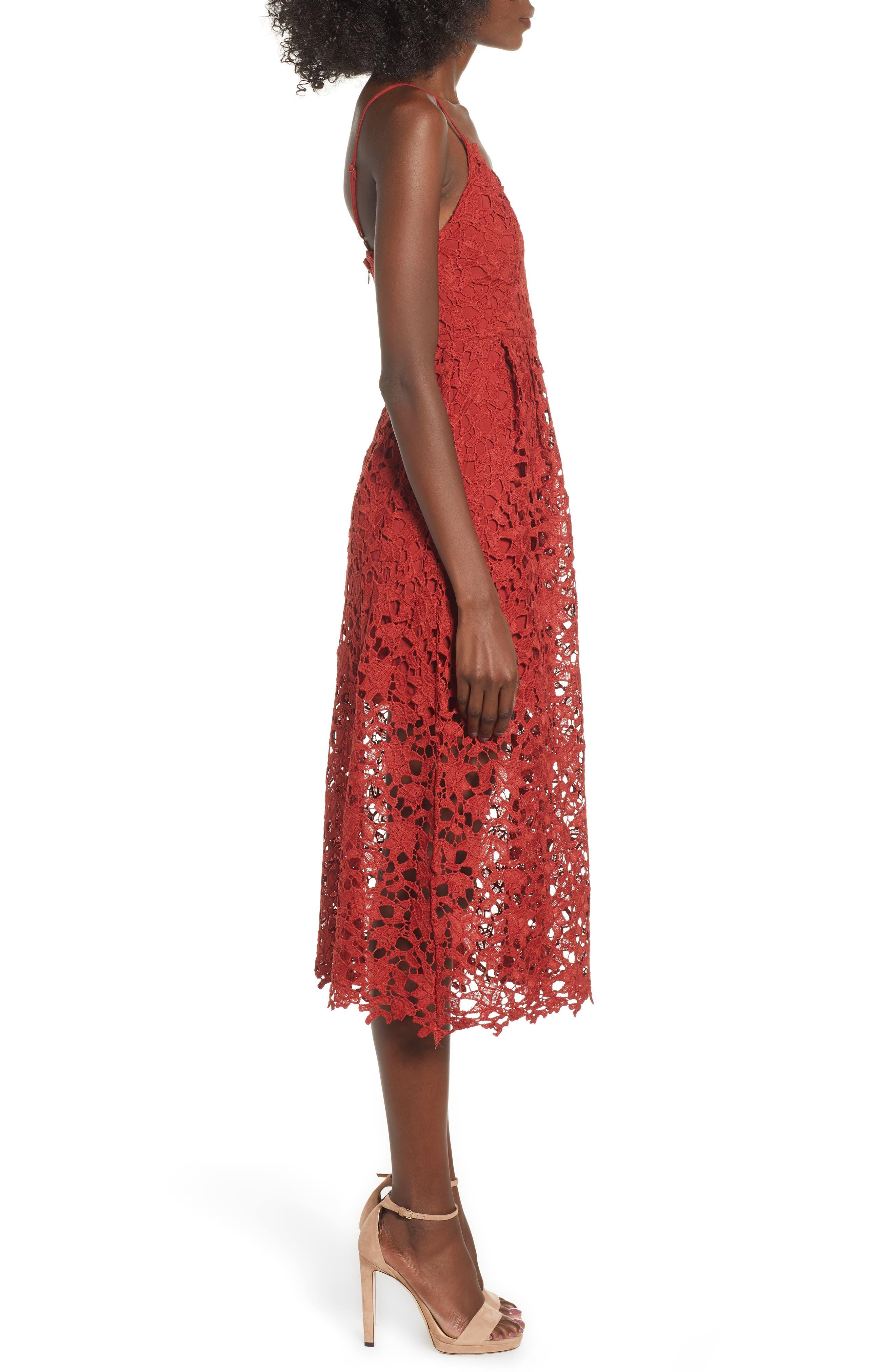 Lace Midi Dress,                             Alternate thumbnail 3, color,                             RUST