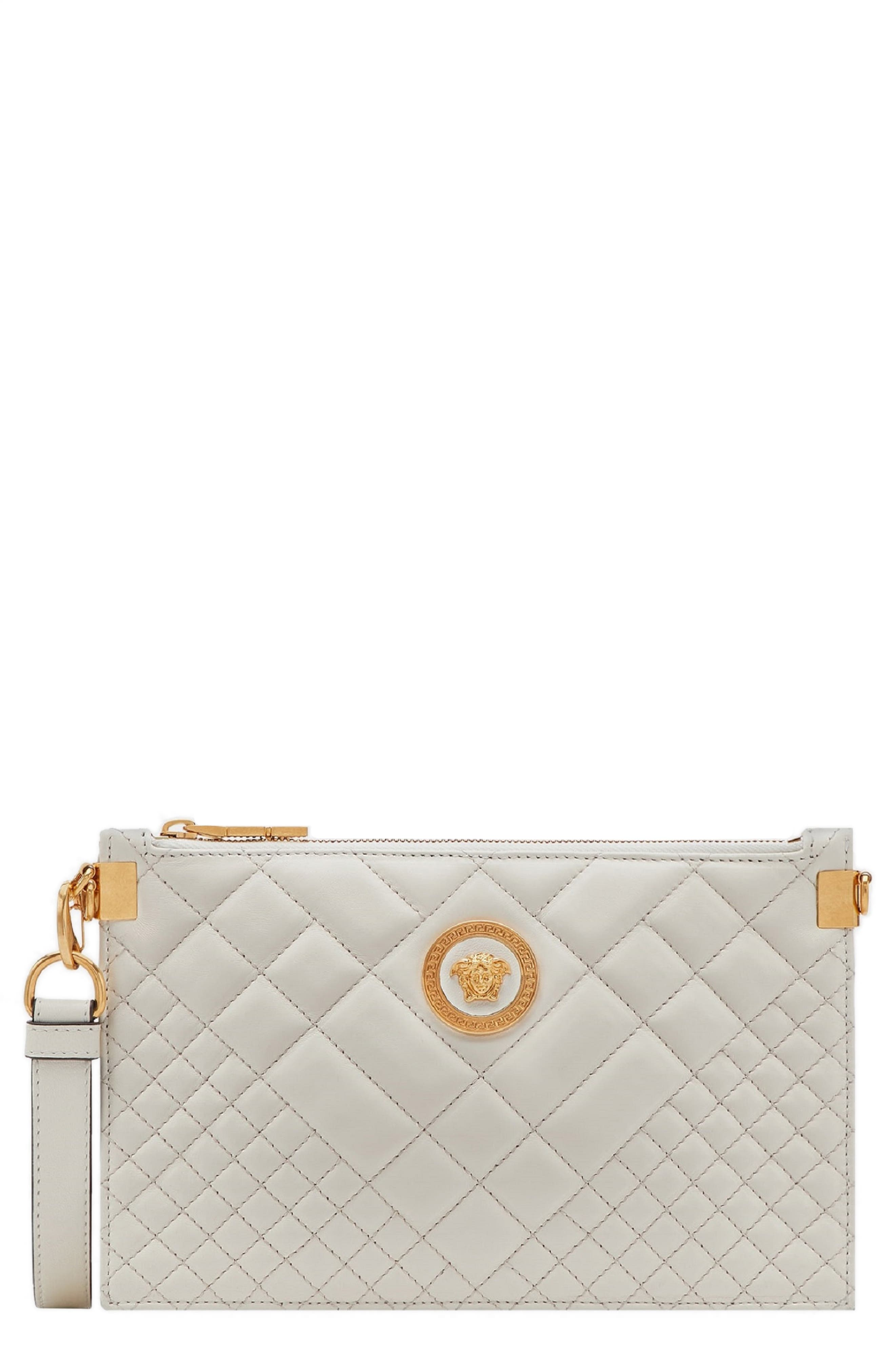 Tribute Icon Quilted Leather Pouch,                         Main,                         color, OFF WHITE/ GOLD