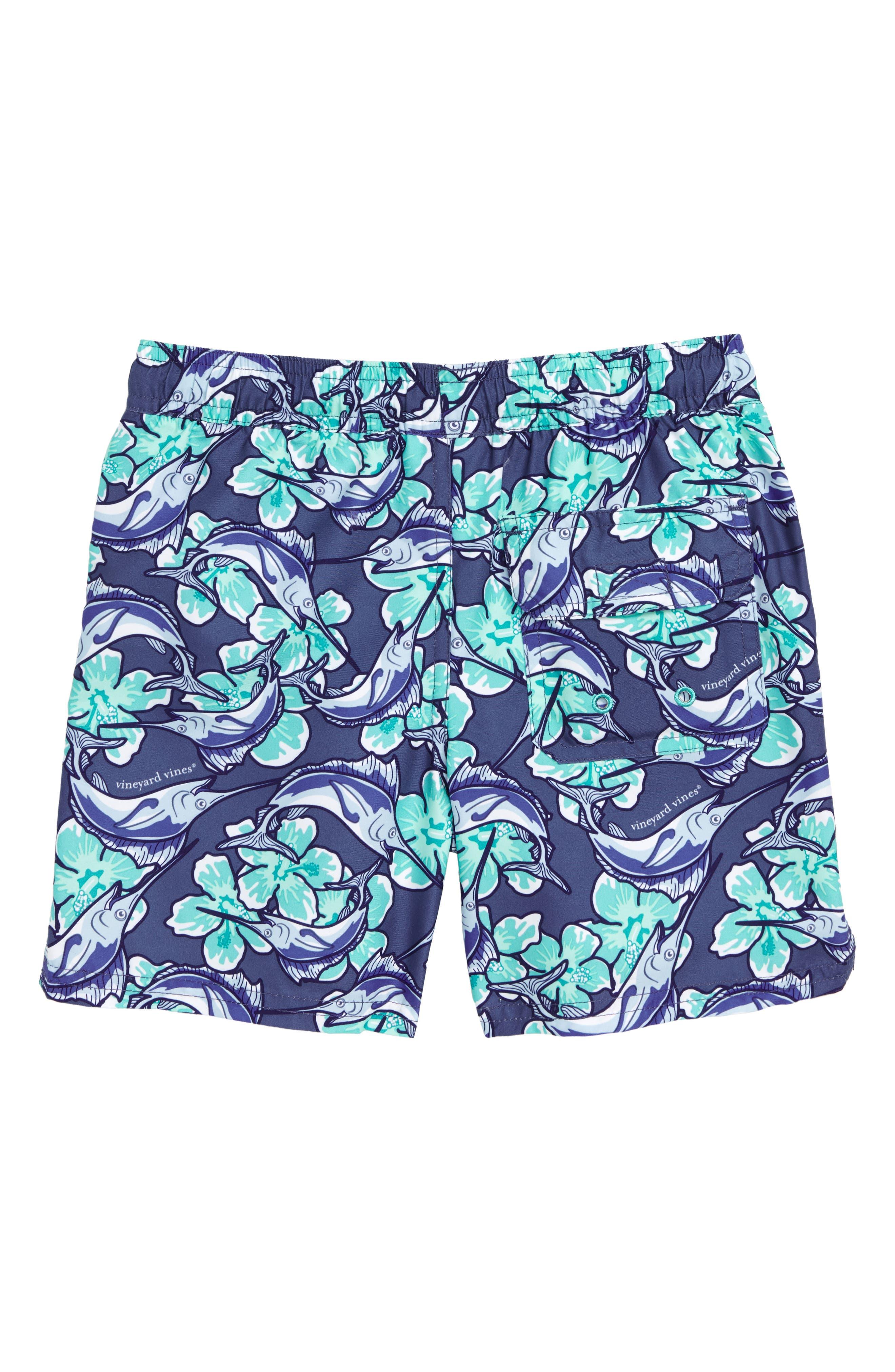 Chappy Marlin Flower Swim Trunks,                             Alternate thumbnail 2, color,                             MOONSHINE