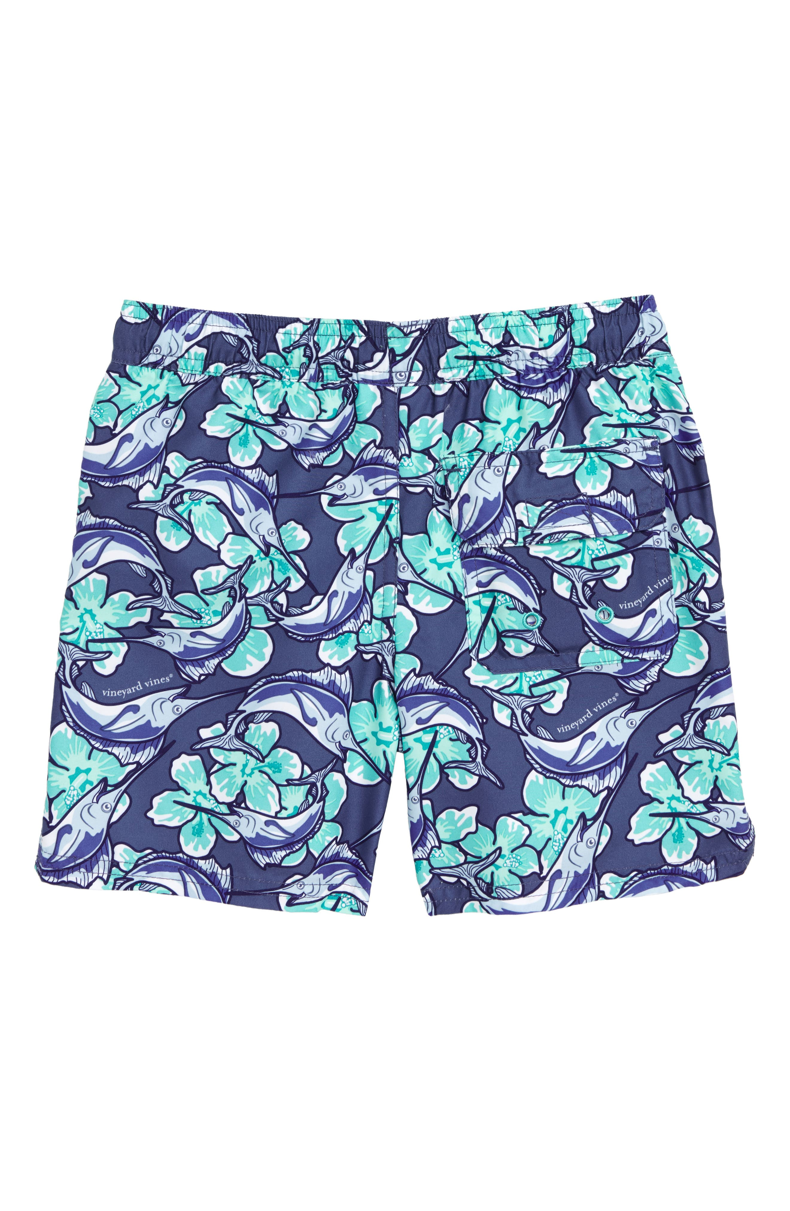 Chappy Marlin Flower Swim Trunks,                             Alternate thumbnail 2, color,                             461