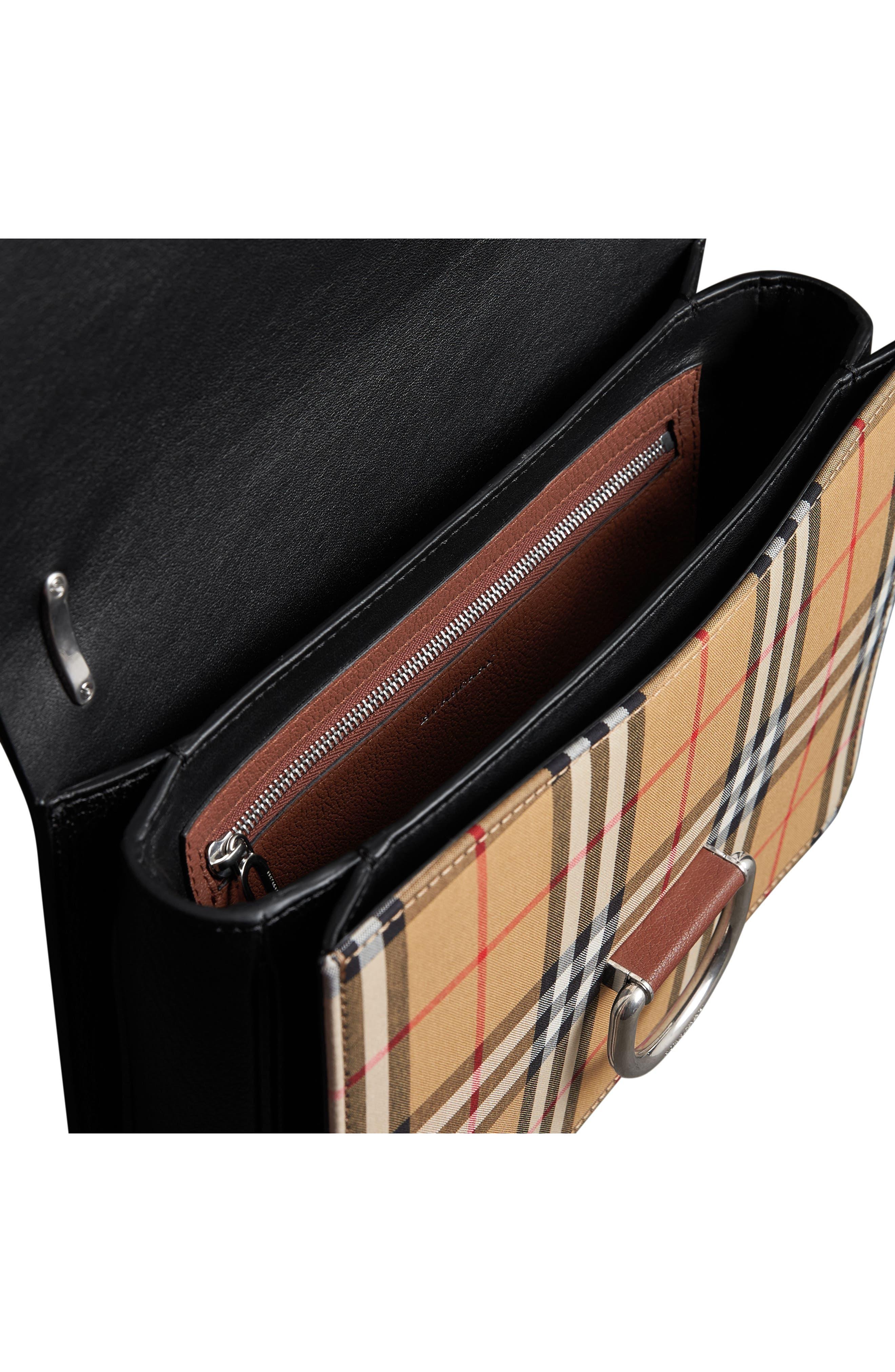 Medium D-Ring Vintage Check & Leather Crossbody Bag,                             Alternate thumbnail 8, color,                             TAN/ BLACK