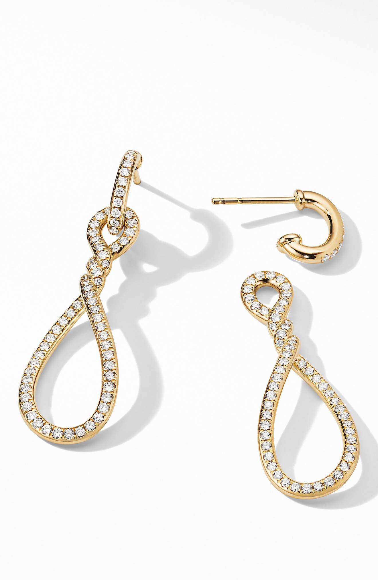 DAVID YURMAN,                             Continuance Full Pavé Small Drop Earrings in 18K Yellow Gold,                             Alternate thumbnail 2, color,                             YELLOW GOLD/ DIAMOND