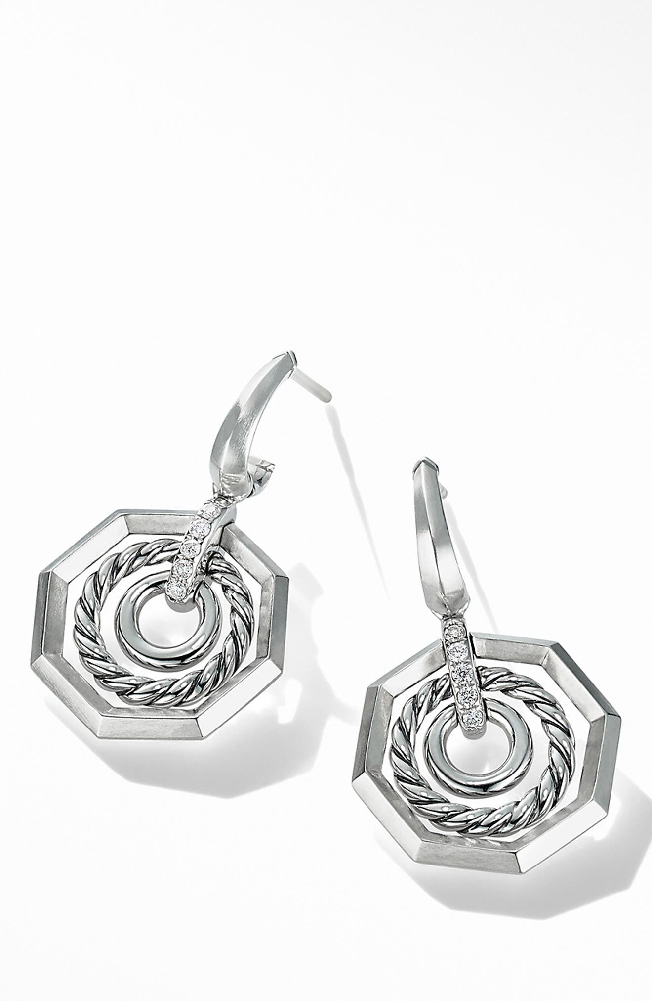 Stax Drop Earring with Diamonds,                             Alternate thumbnail 2, color,                             SILVER/ DIAMOND