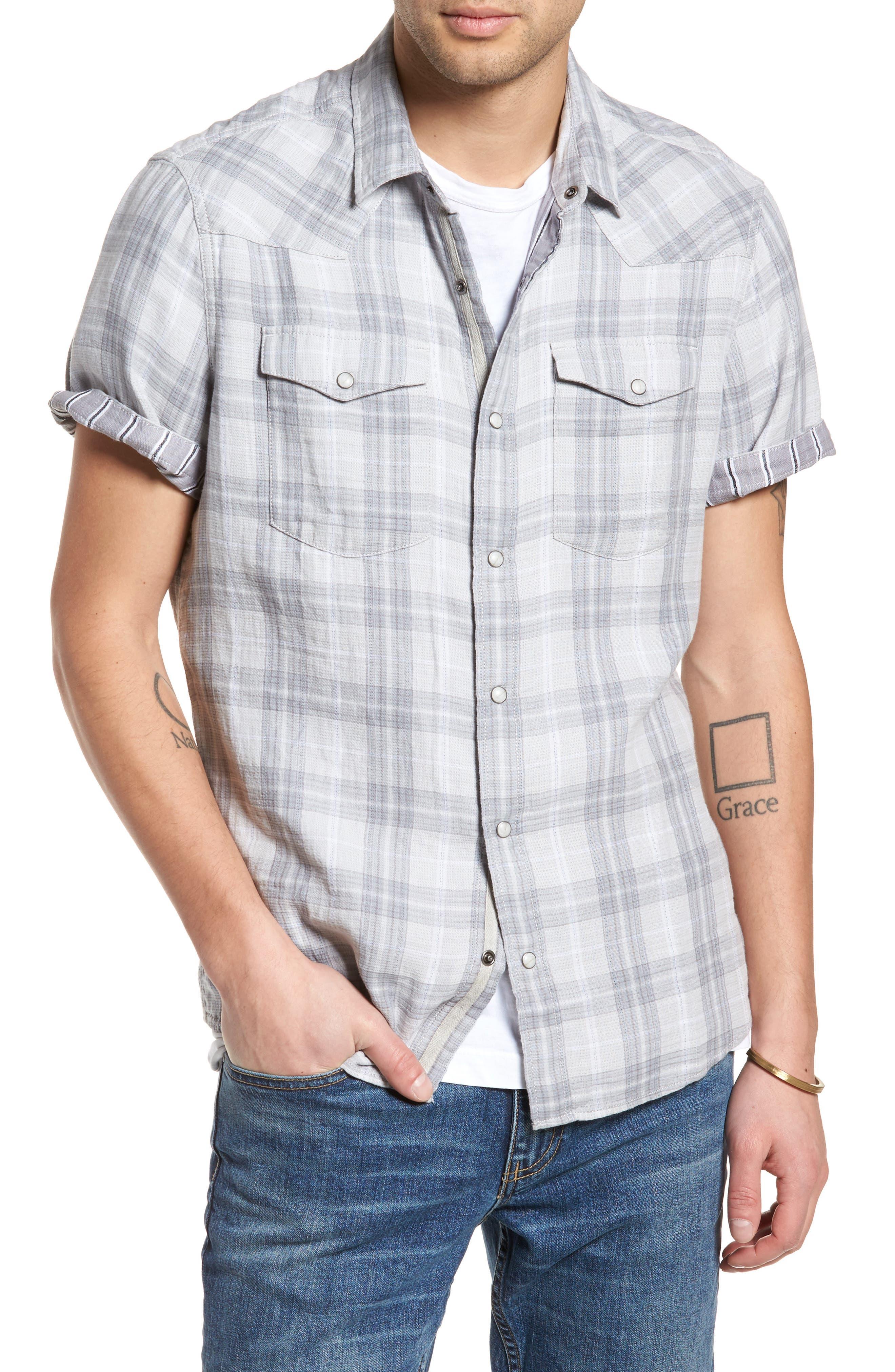 Plaid Short Sleeve Sport Shirt,                             Alternate thumbnail 4, color,