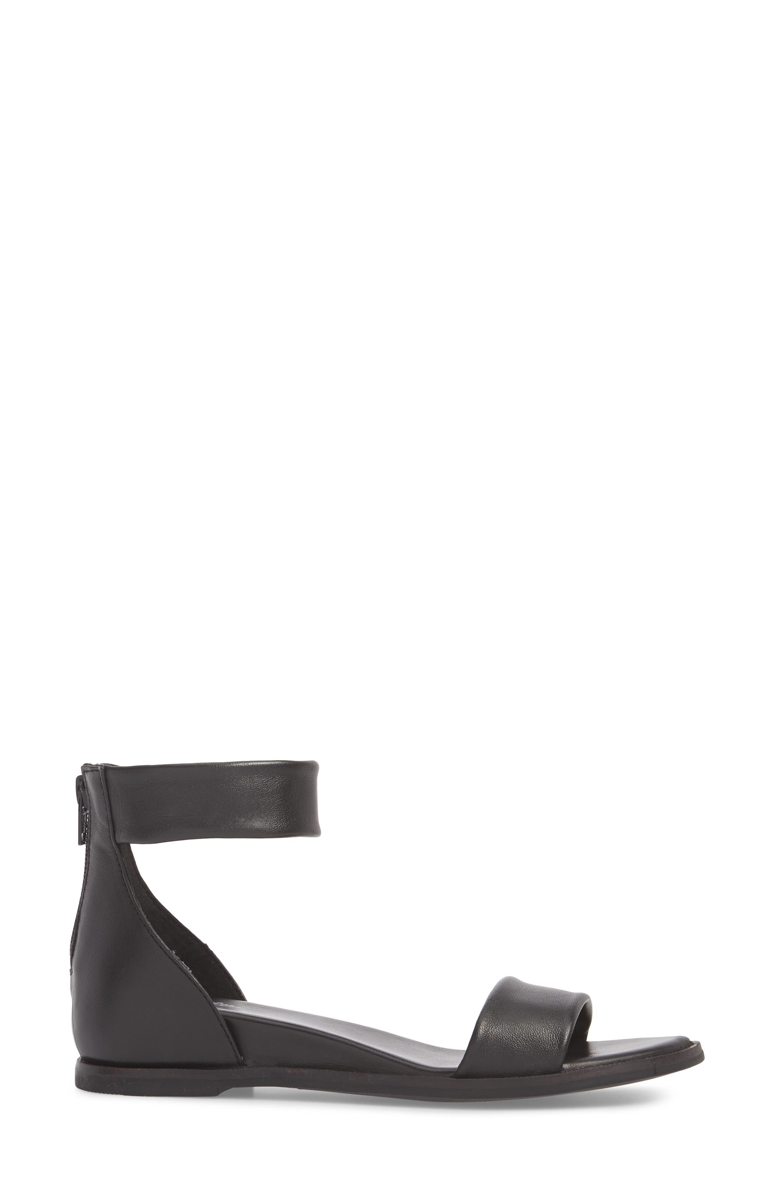 Ankle Strap Sandal,                             Alternate thumbnail 3, color,                             BLACK LEATHER