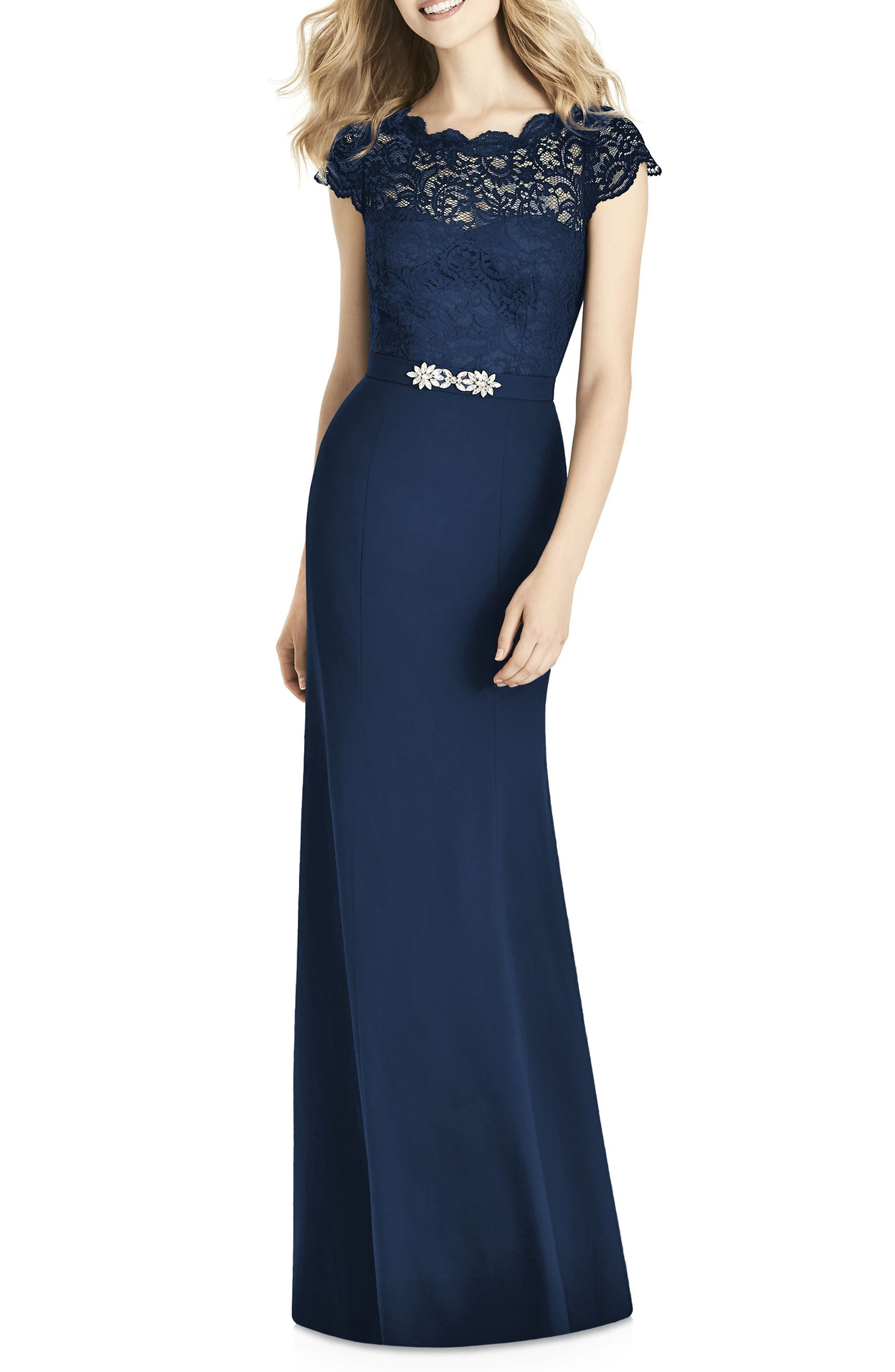 Lace & Crepe Sheath Gown,                             Main thumbnail 1, color,                             MIDNIGHT
