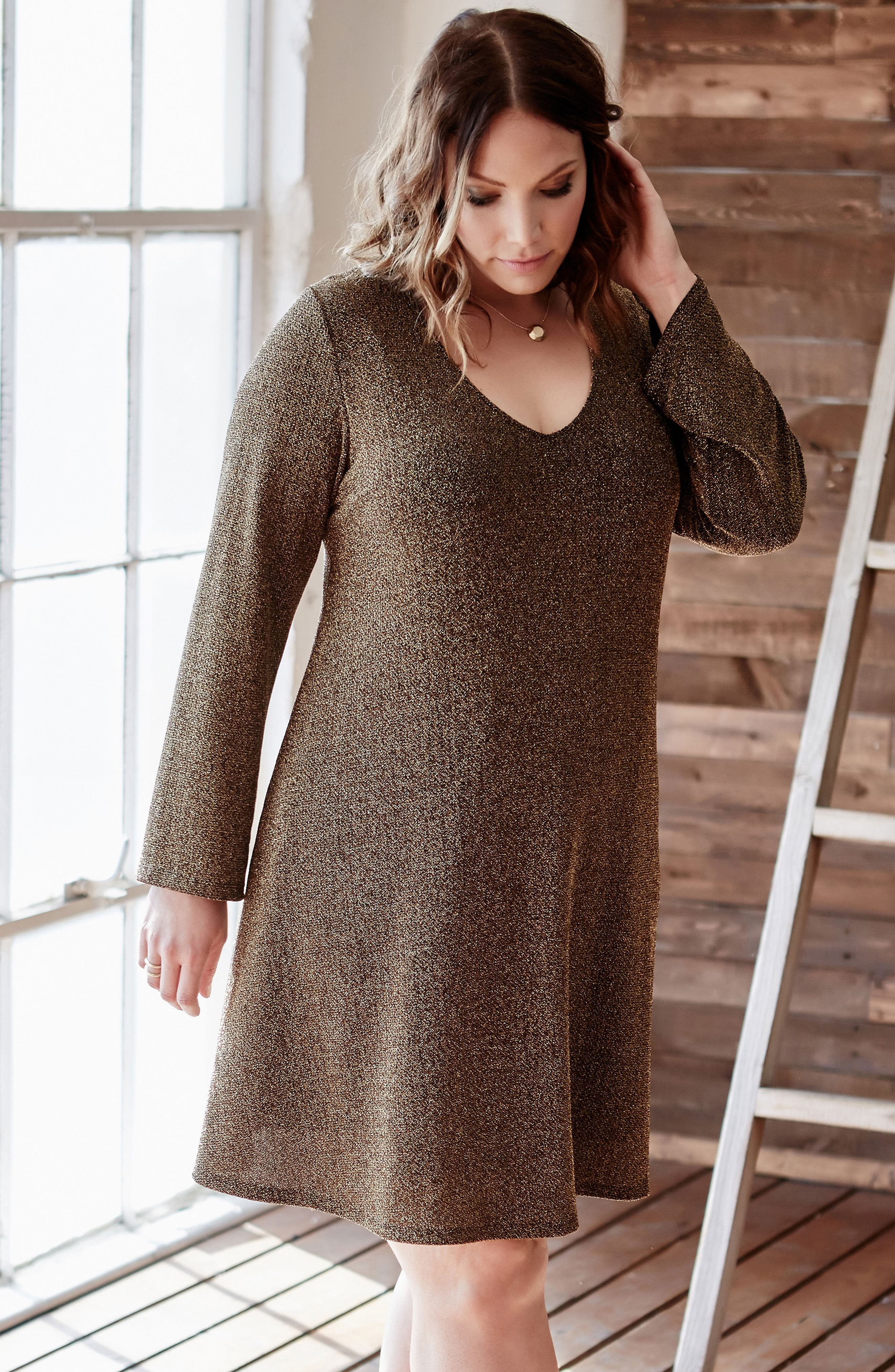 Taylor Gold Knit Dress,                             Alternate thumbnail 4, color,                             710
