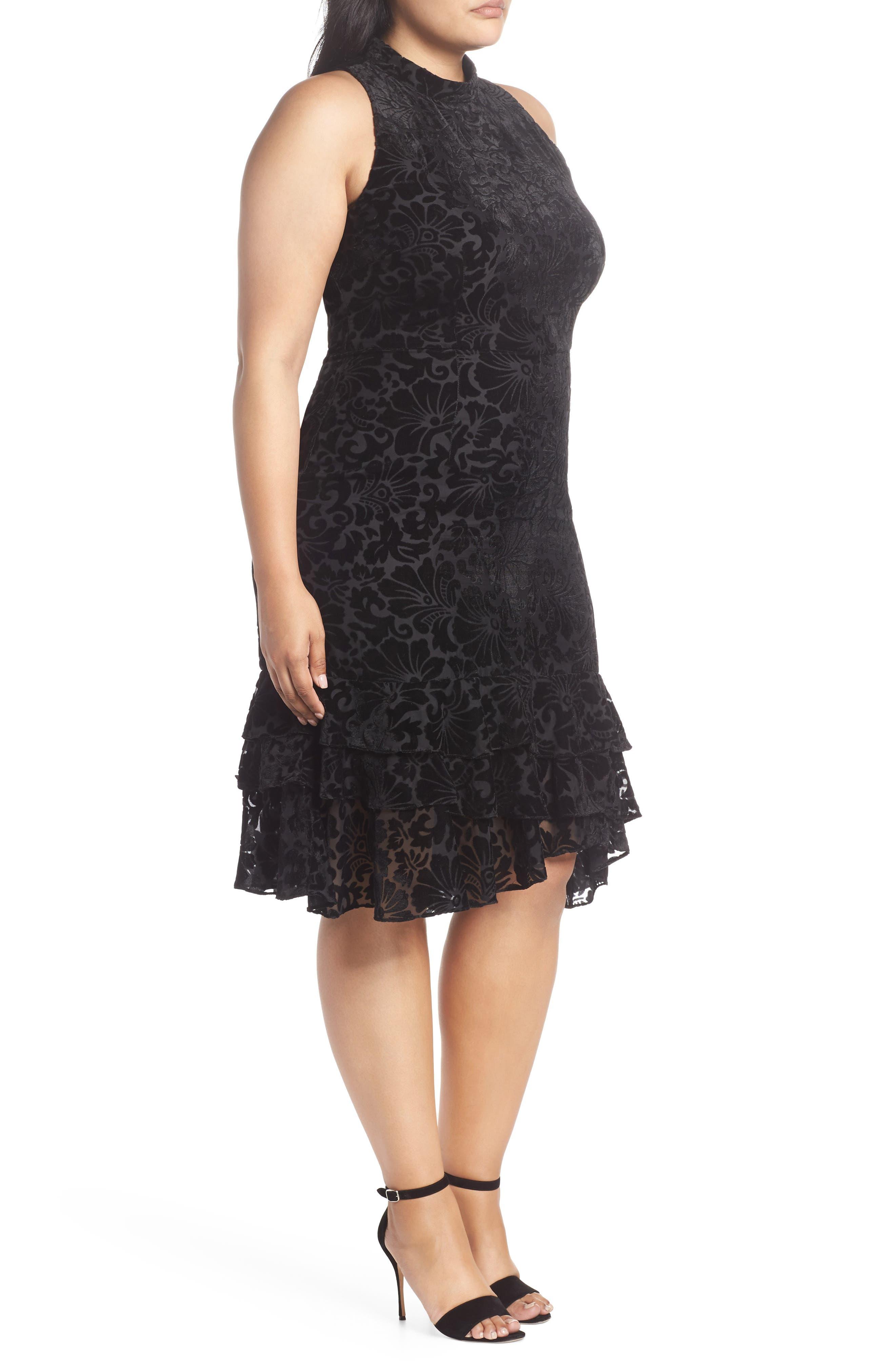 CHELSEA28,                             Burnout Velvet Sheath Dress,                             Alternate thumbnail 4, color,                             001