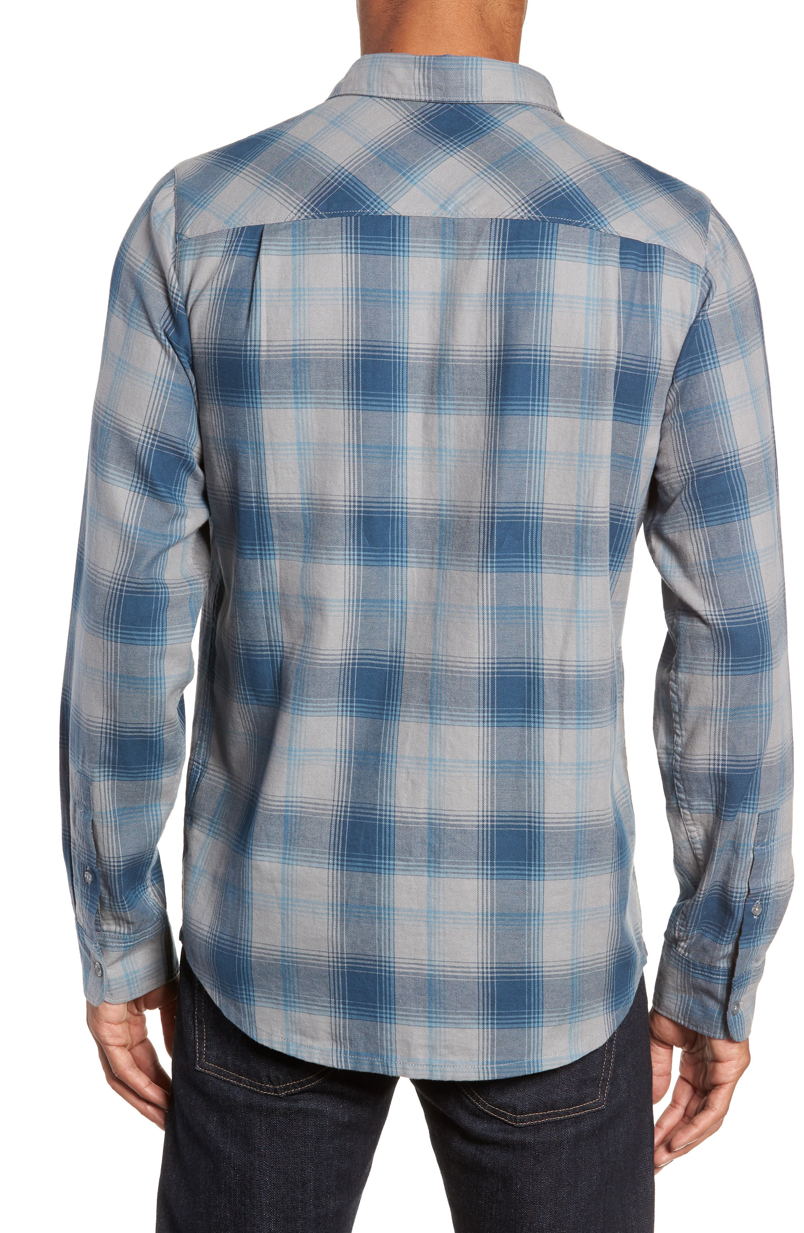 Insider Regular Fit Plaid Flannel Sport Shirt,                             Alternate thumbnail 3, color,                             BLUE WING TEAL