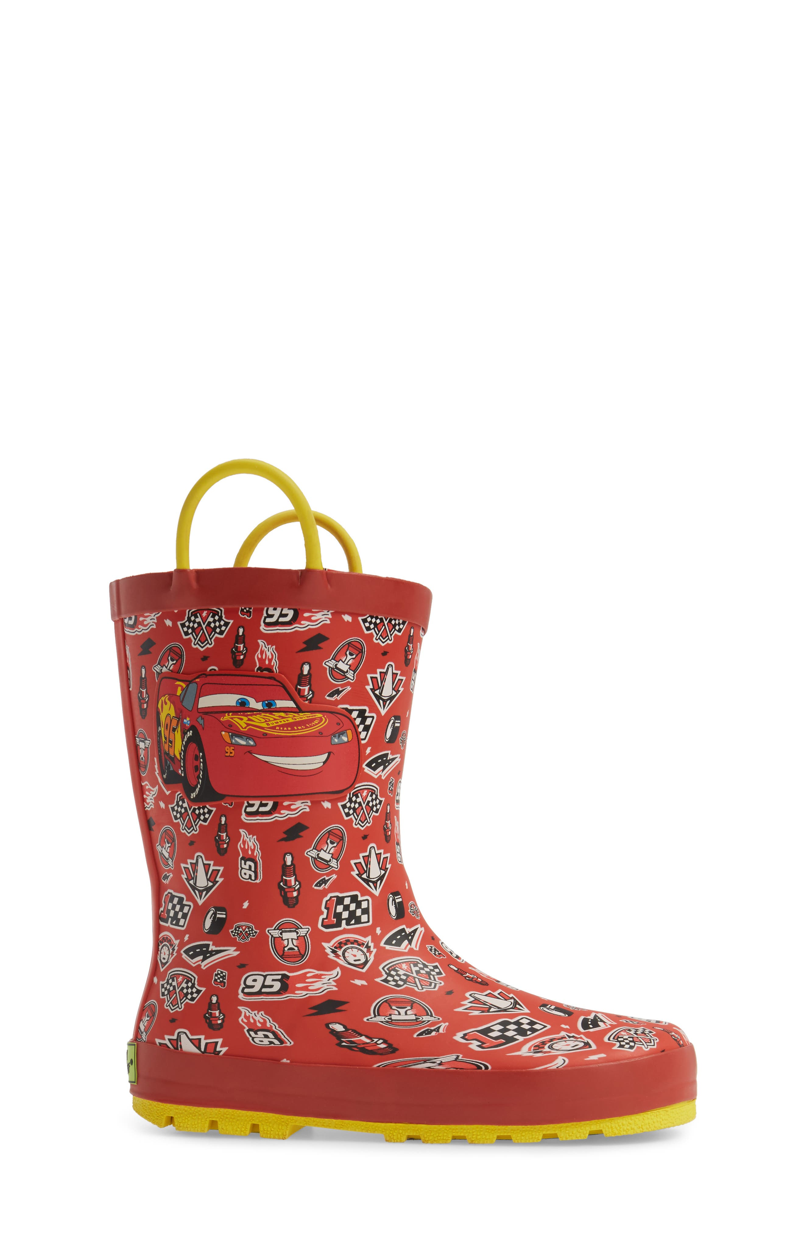 Cars<sup>®</sup> Lightning Fast Waterproof Rain Boot,                             Alternate thumbnail 3, color,                             610