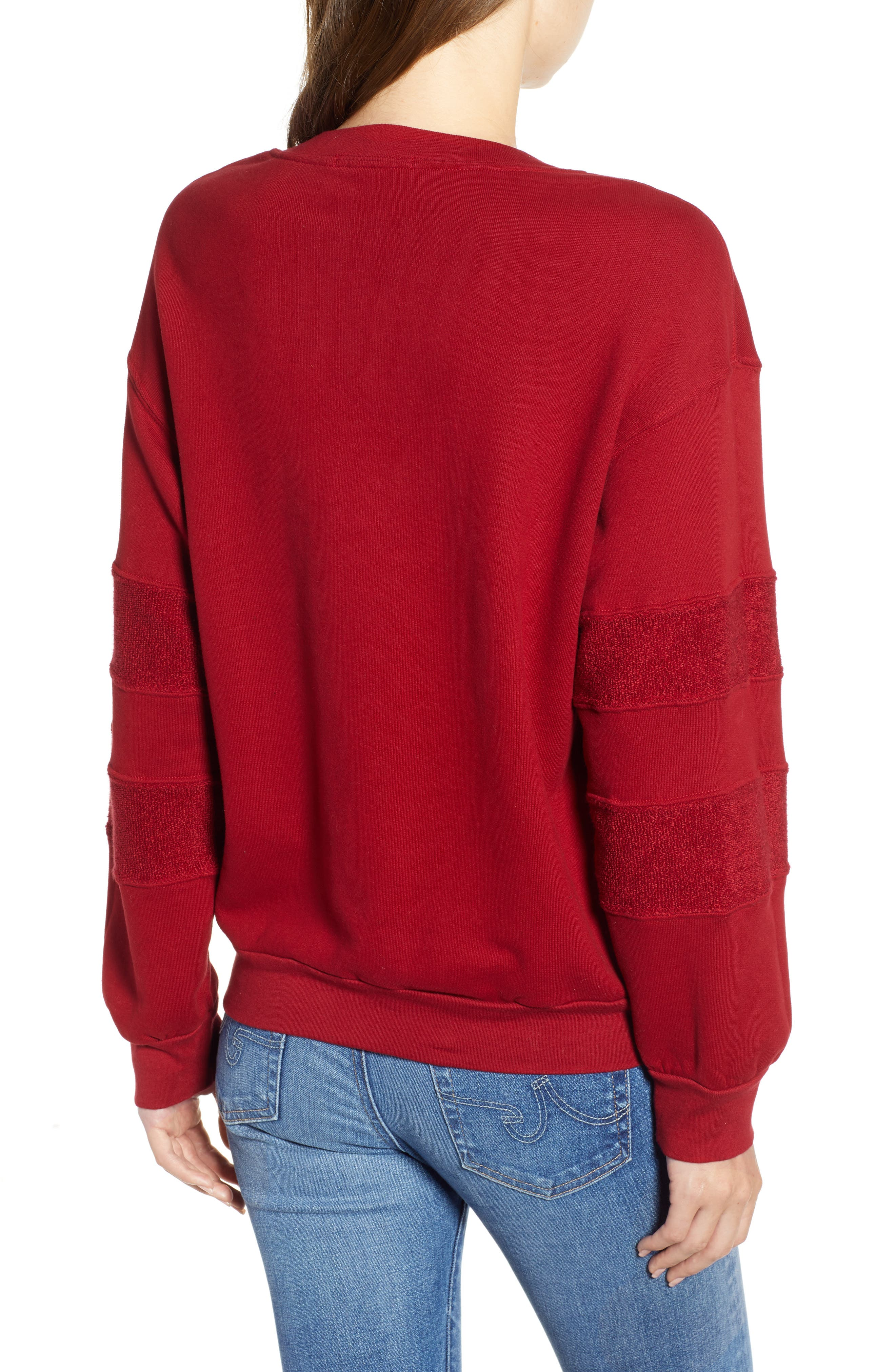 French Terry Stripe Sweatshirt,                             Alternate thumbnail 2, color,                             DEEP RED