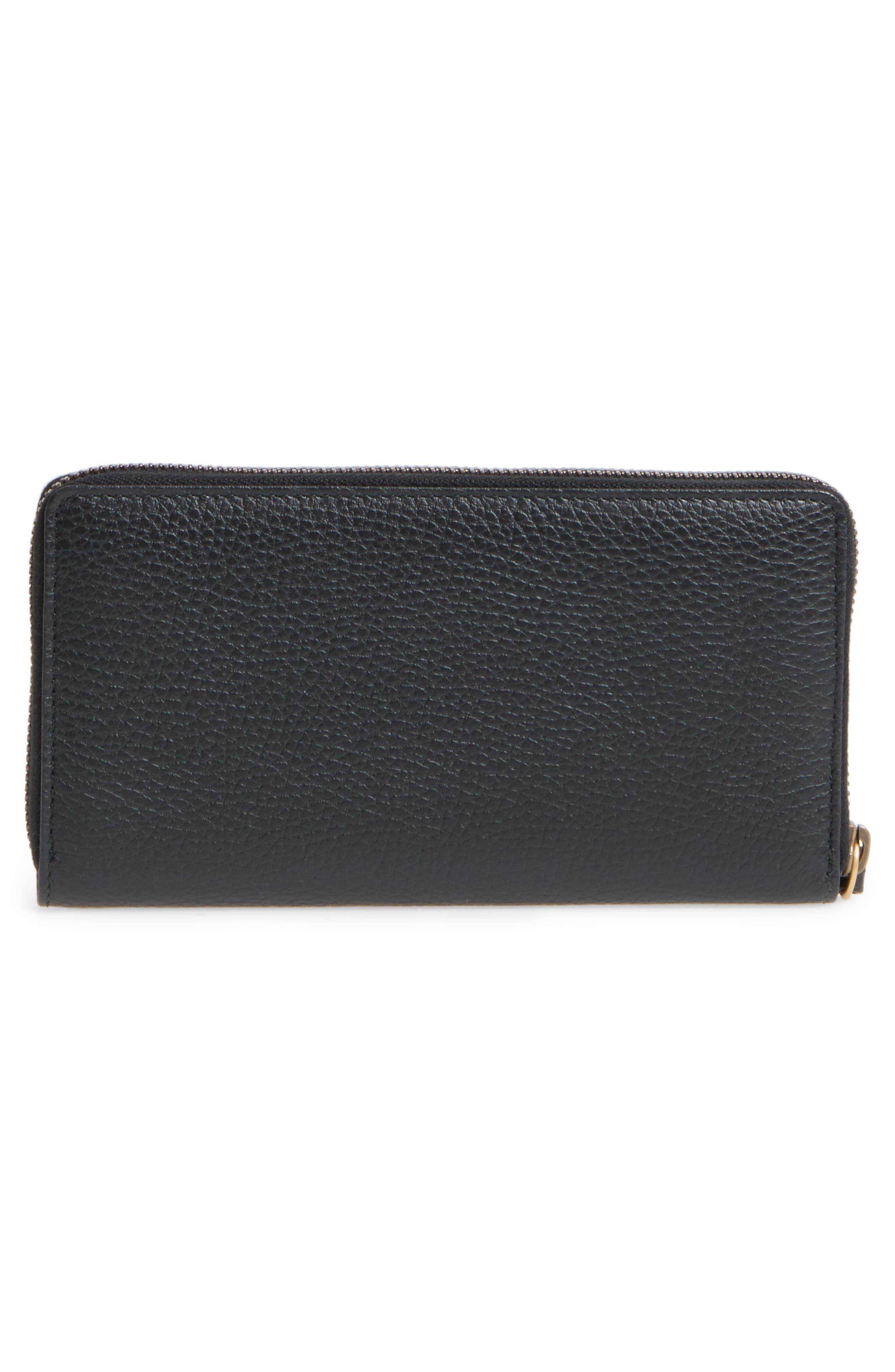 Farfalla Zip Around Leather Wallet,                             Alternate thumbnail 3, color,                             NERO/ CRYSTAL