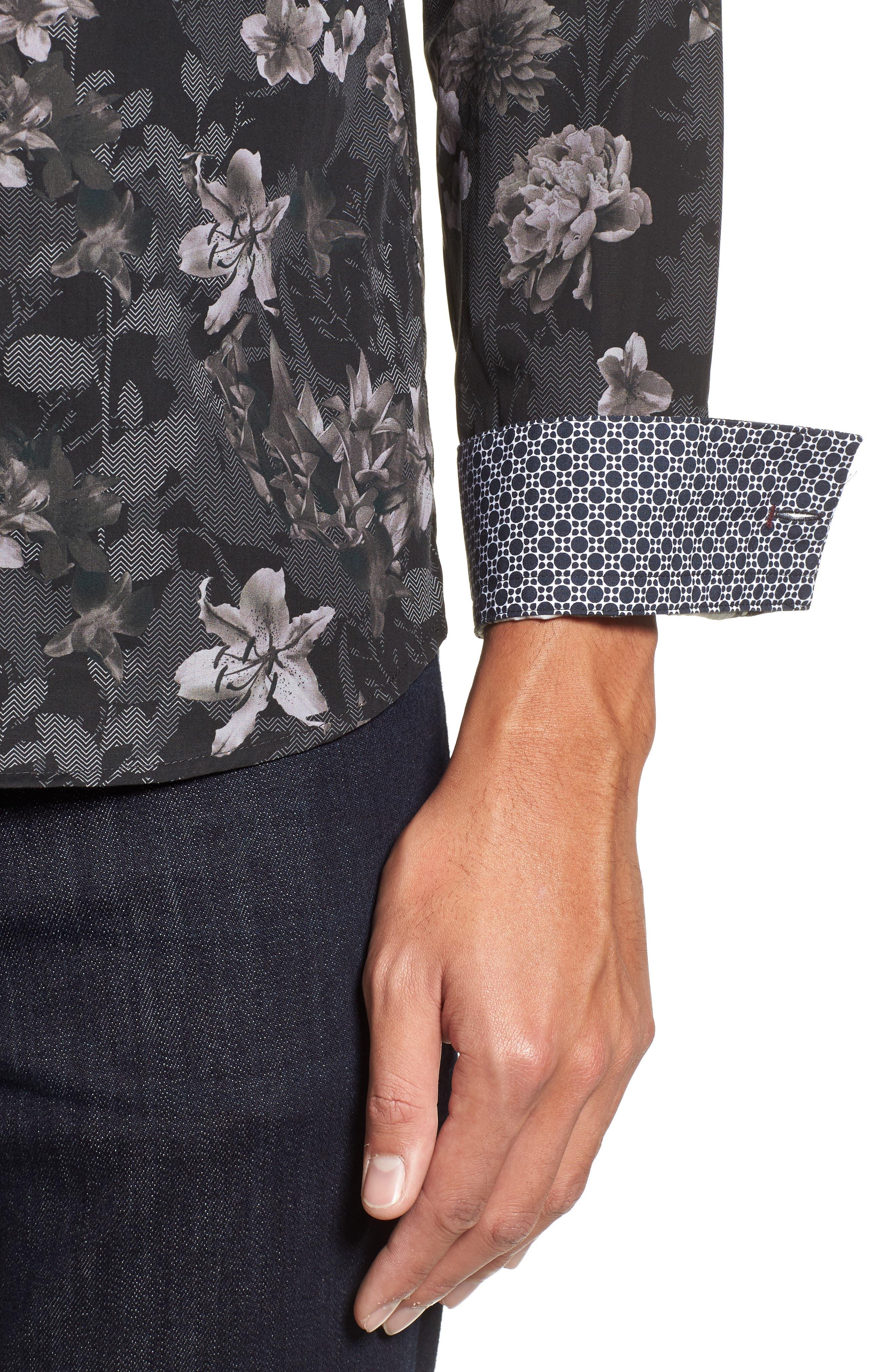 Ted Baker Konkord Slim Fit Floral Print Sport Shirt,                             Alternate thumbnail 4, color,                             001