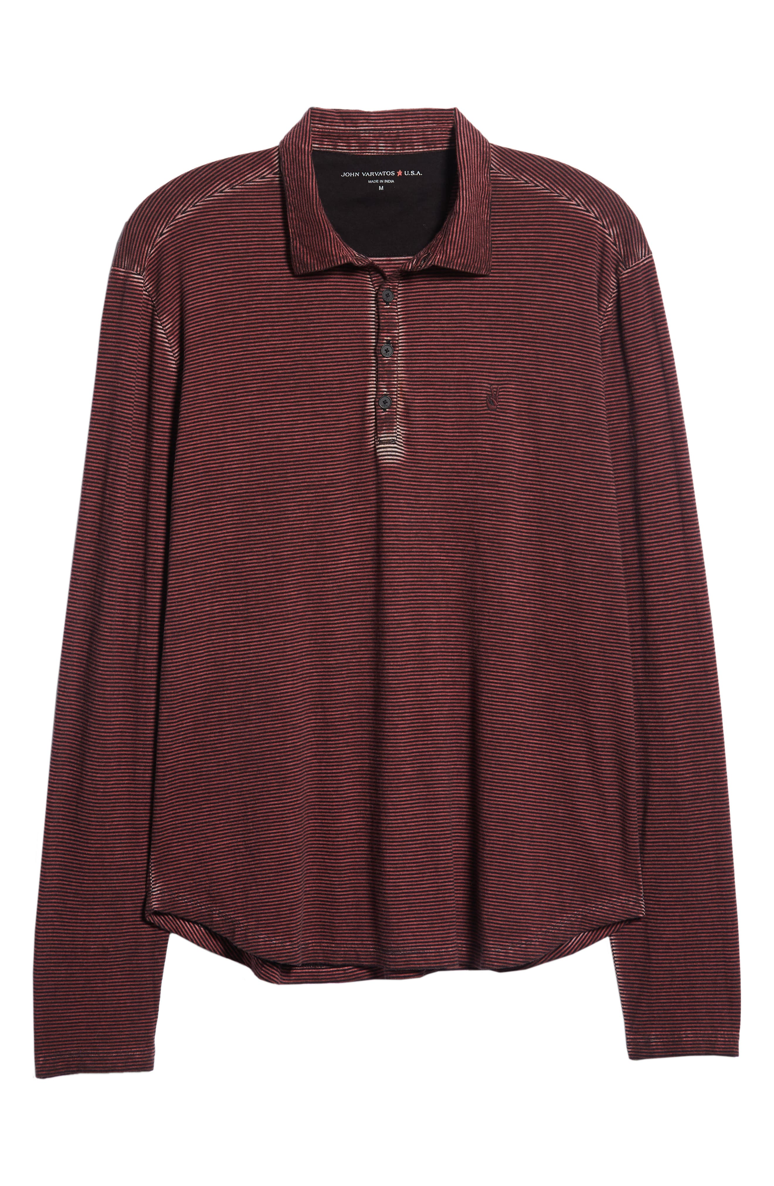 Striped Long Sleeve Polo,                             Alternate thumbnail 6, color,                             BORDEAUX