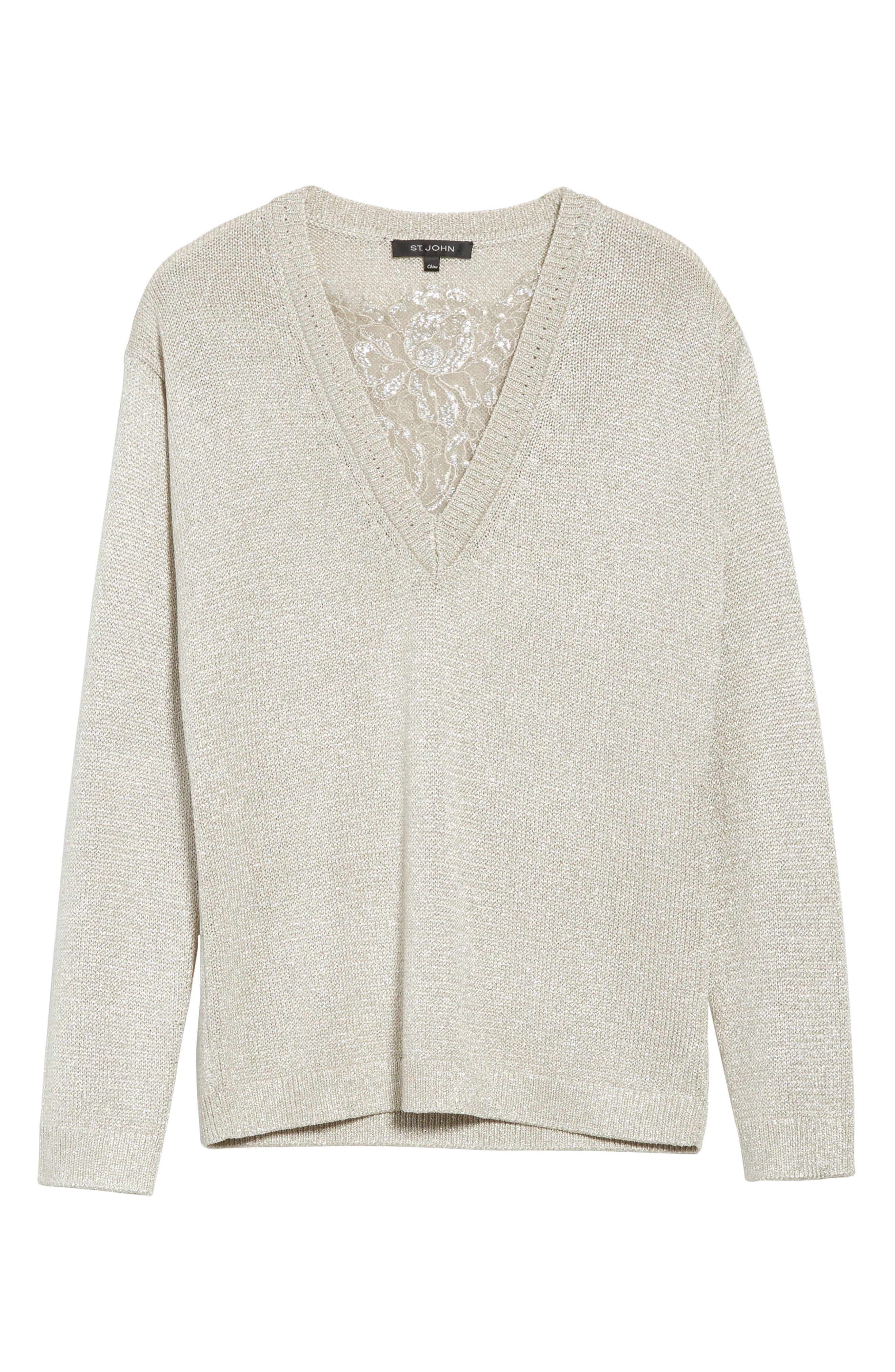St John Collection Metallic Jersey Knit Sweater,                             Alternate thumbnail 6, color,                             020