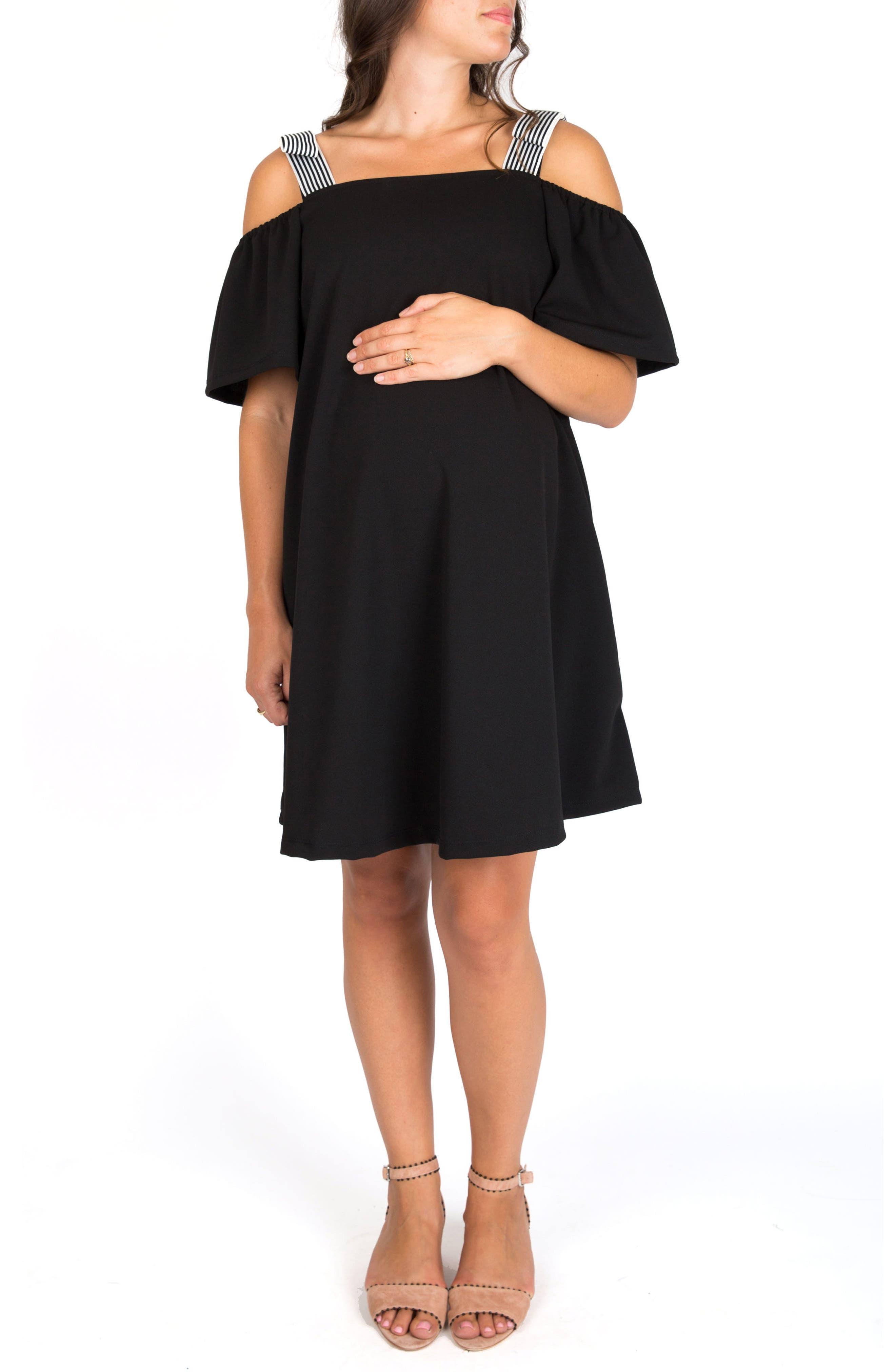NOM MATERNITY Millie Off the Shoulder Maternity Dress, Main, color, BLACK