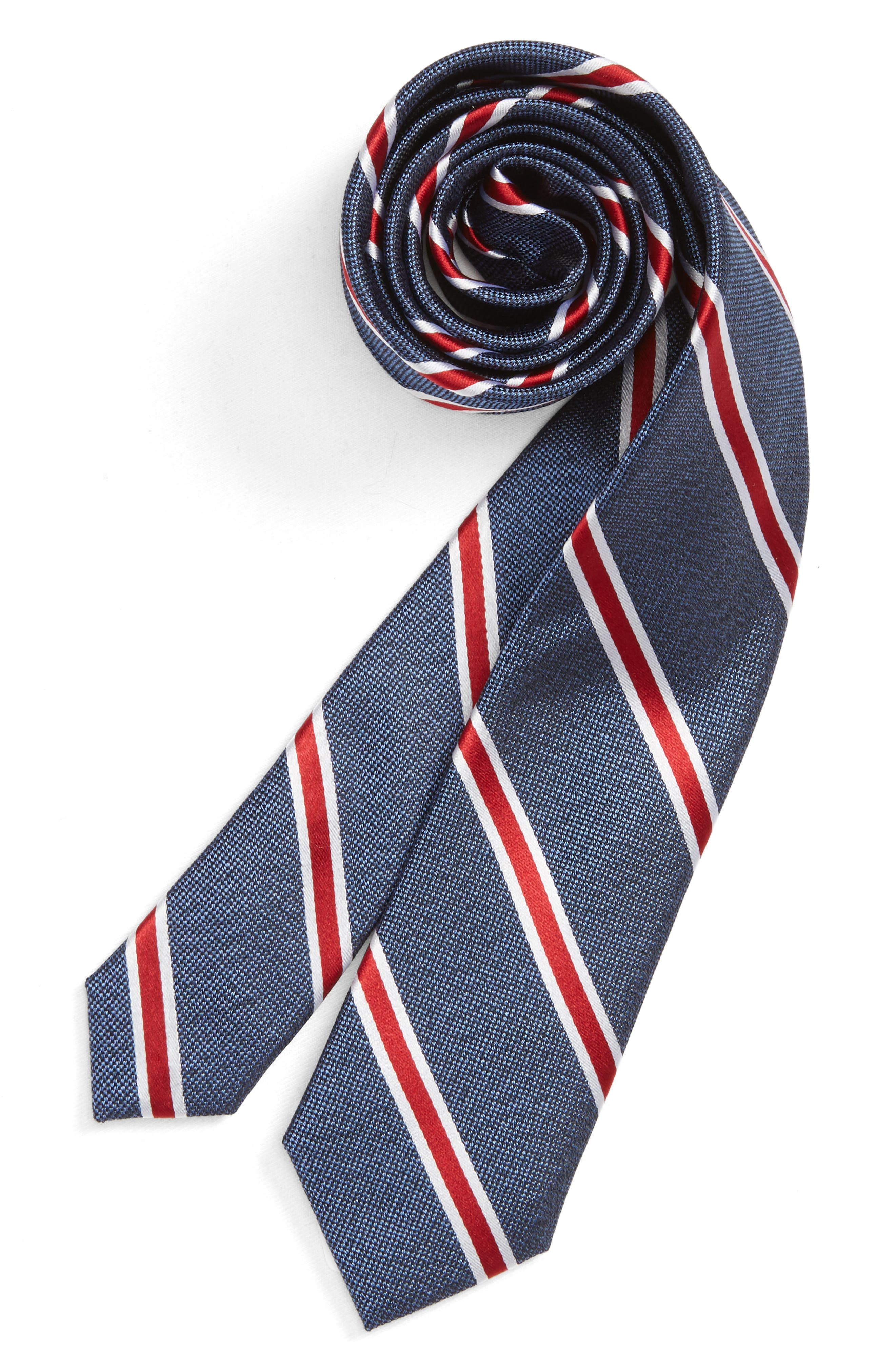 Stripe Silk Tie,                             Main thumbnail 1, color,                             RED