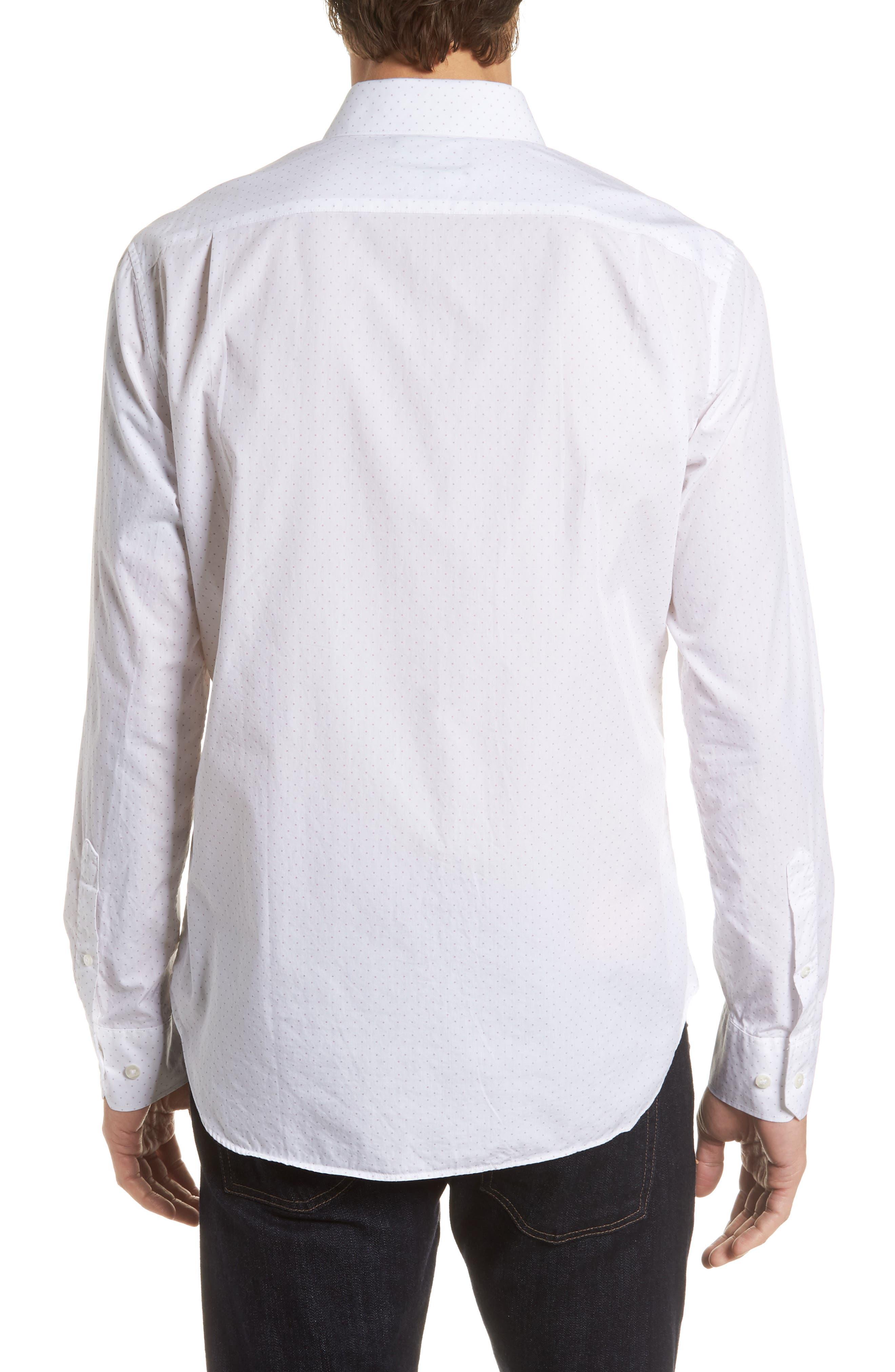 Unbutton Down Slim Fit Dot Sport Shirt,                             Alternate thumbnail 2, color,                             100