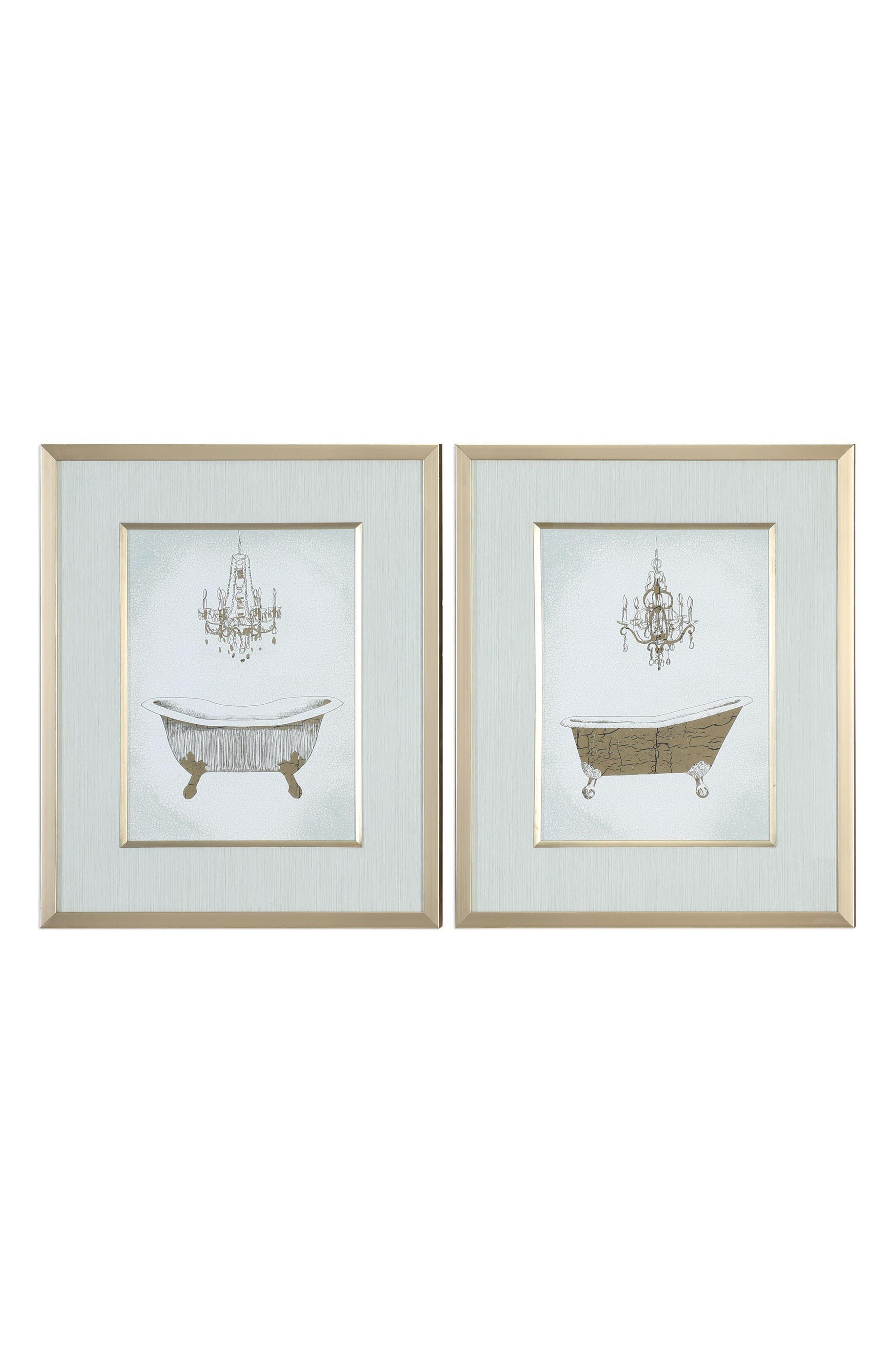 Gilded Bath Set of 2 Art Prints,                             Main thumbnail 1, color,