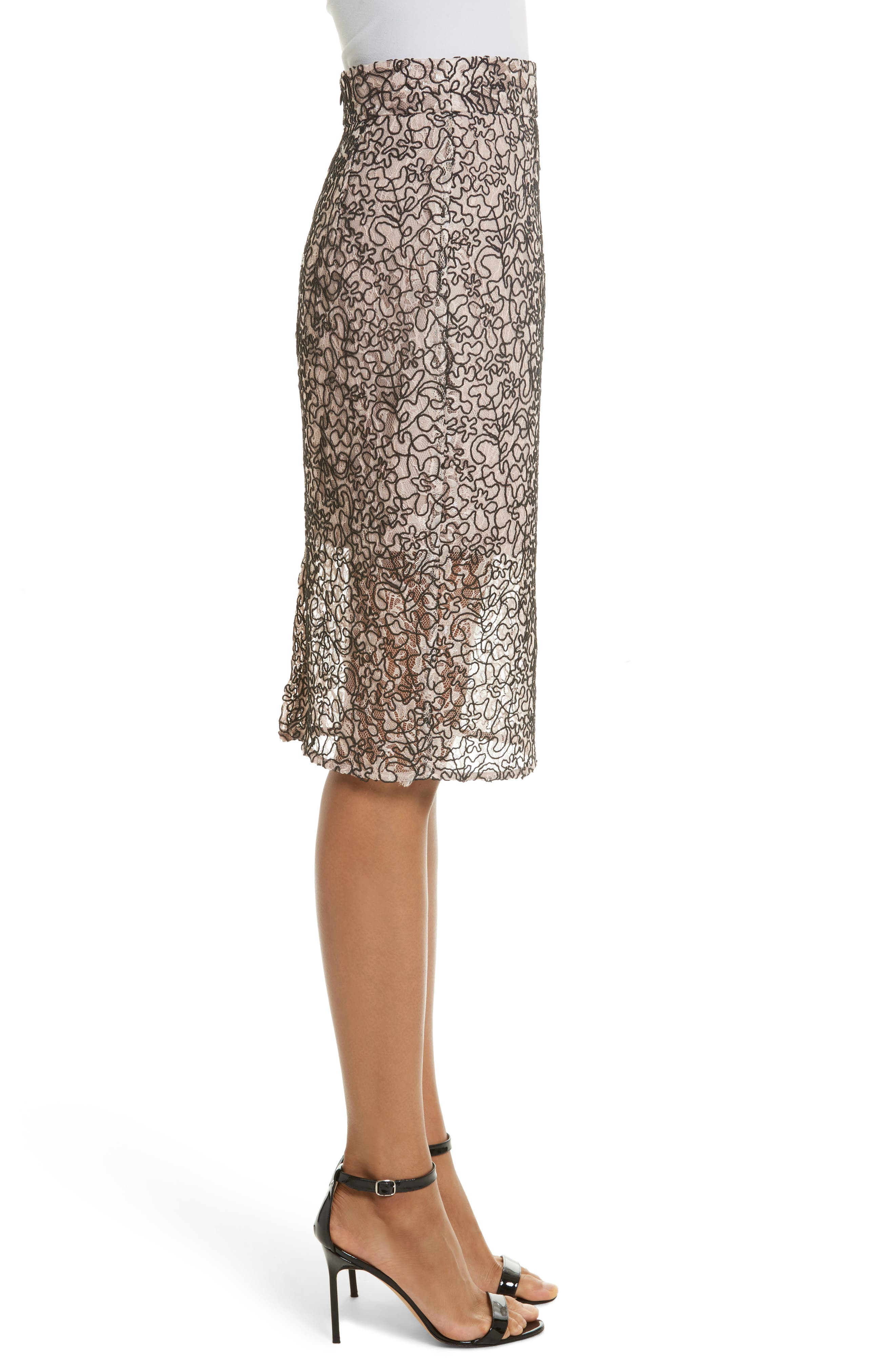Corded Lace Pencil Skirt,                             Alternate thumbnail 3, color,                             653