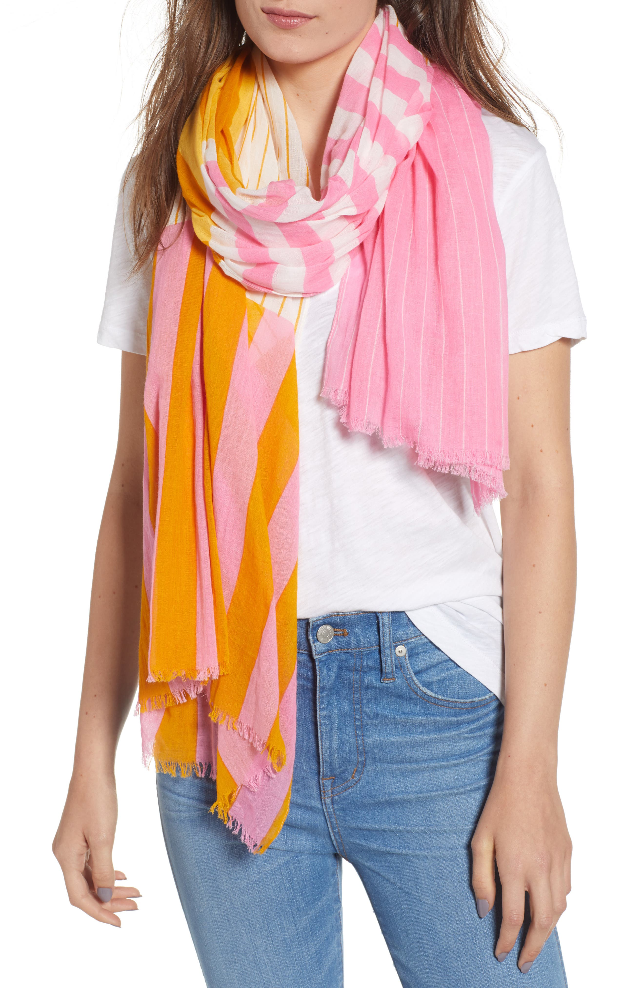 Fes Stripe Scarf,                         Main,                         color, GOLD/PINK/CREAM