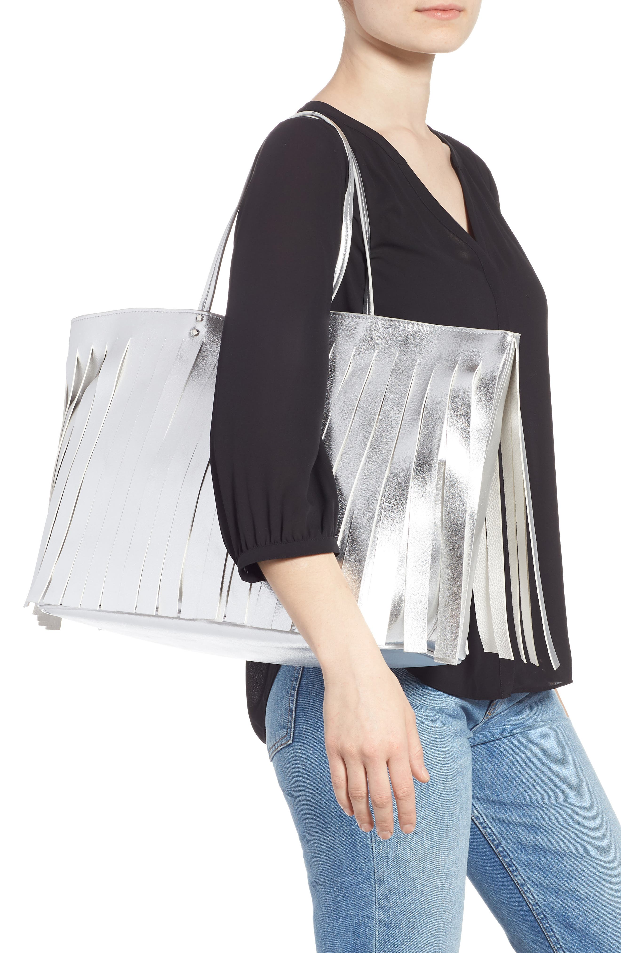Corrie Fringe Faux Leather Tote,                             Alternate thumbnail 2, color,                             SILVER