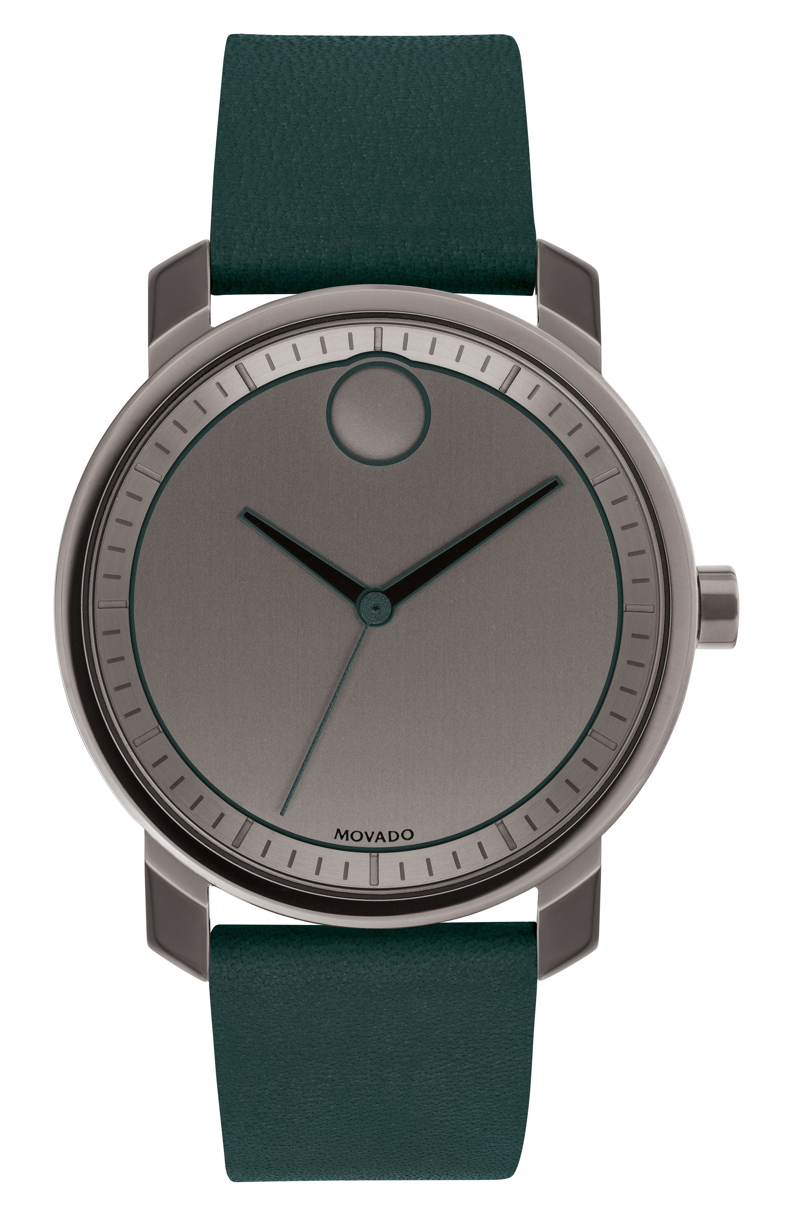 MOVADO,                             Bold Leather Strap Watch, 41mm,                             Main thumbnail 1, color,                             GREEN/ GUNMETAL
