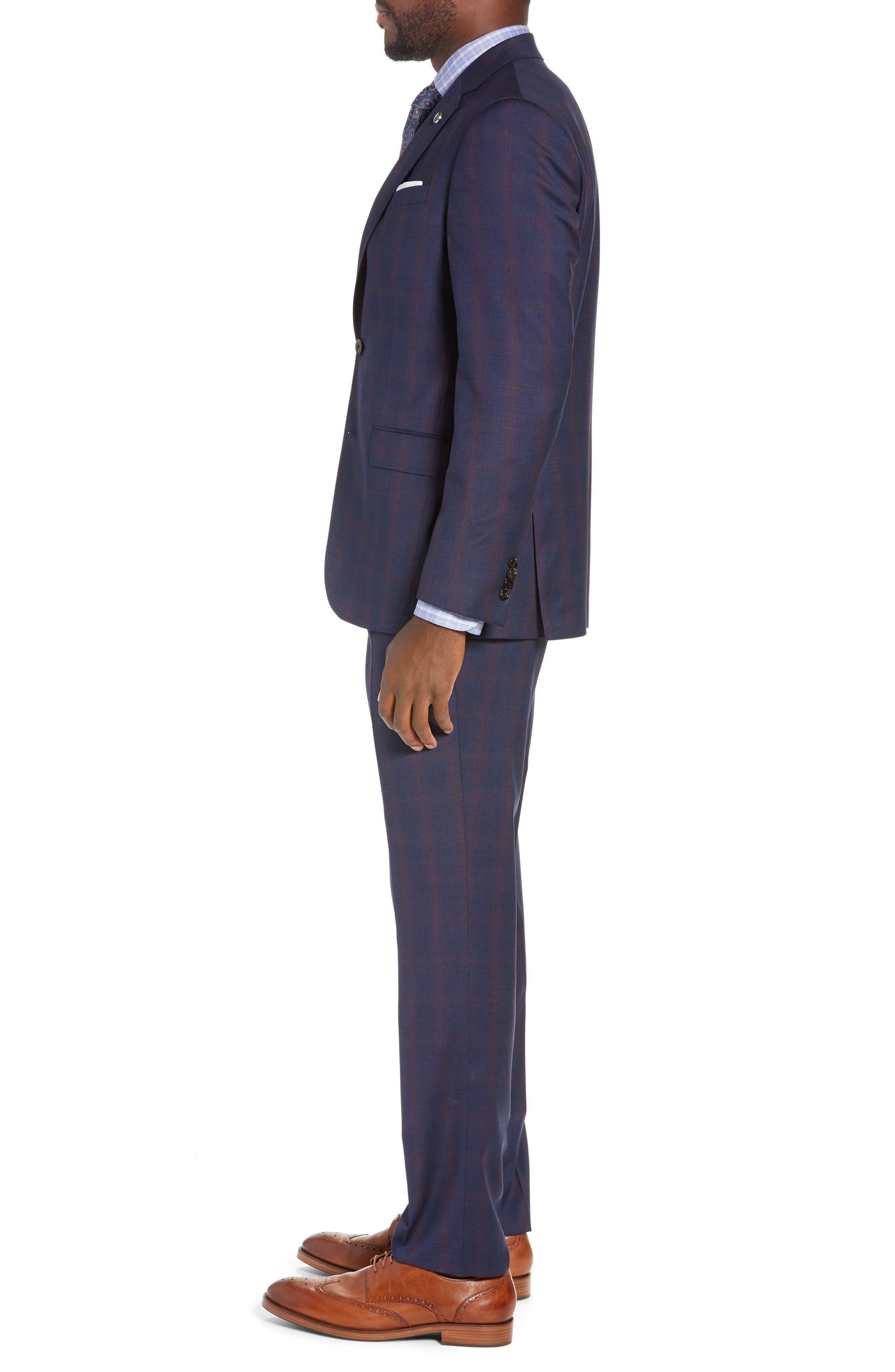 TED BAKER LONDON,                             Roger Slim Fit Plaid Wool Suit,                             Alternate thumbnail 3, color,                             NAVY