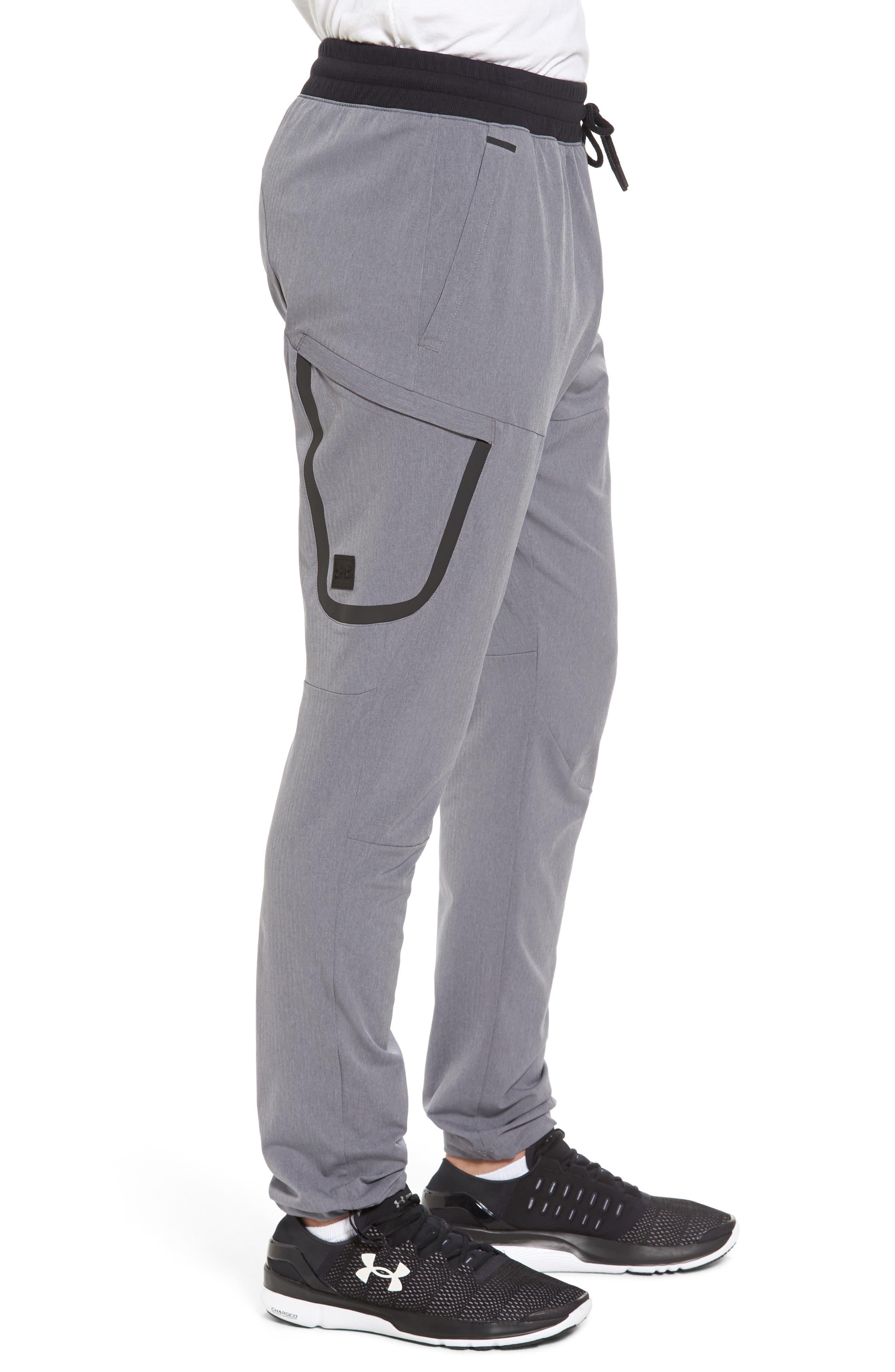 Sportstyle Elite Cargo Track Pants,                             Alternate thumbnail 3, color,                             STEEL FULL HEATHER / BLACK