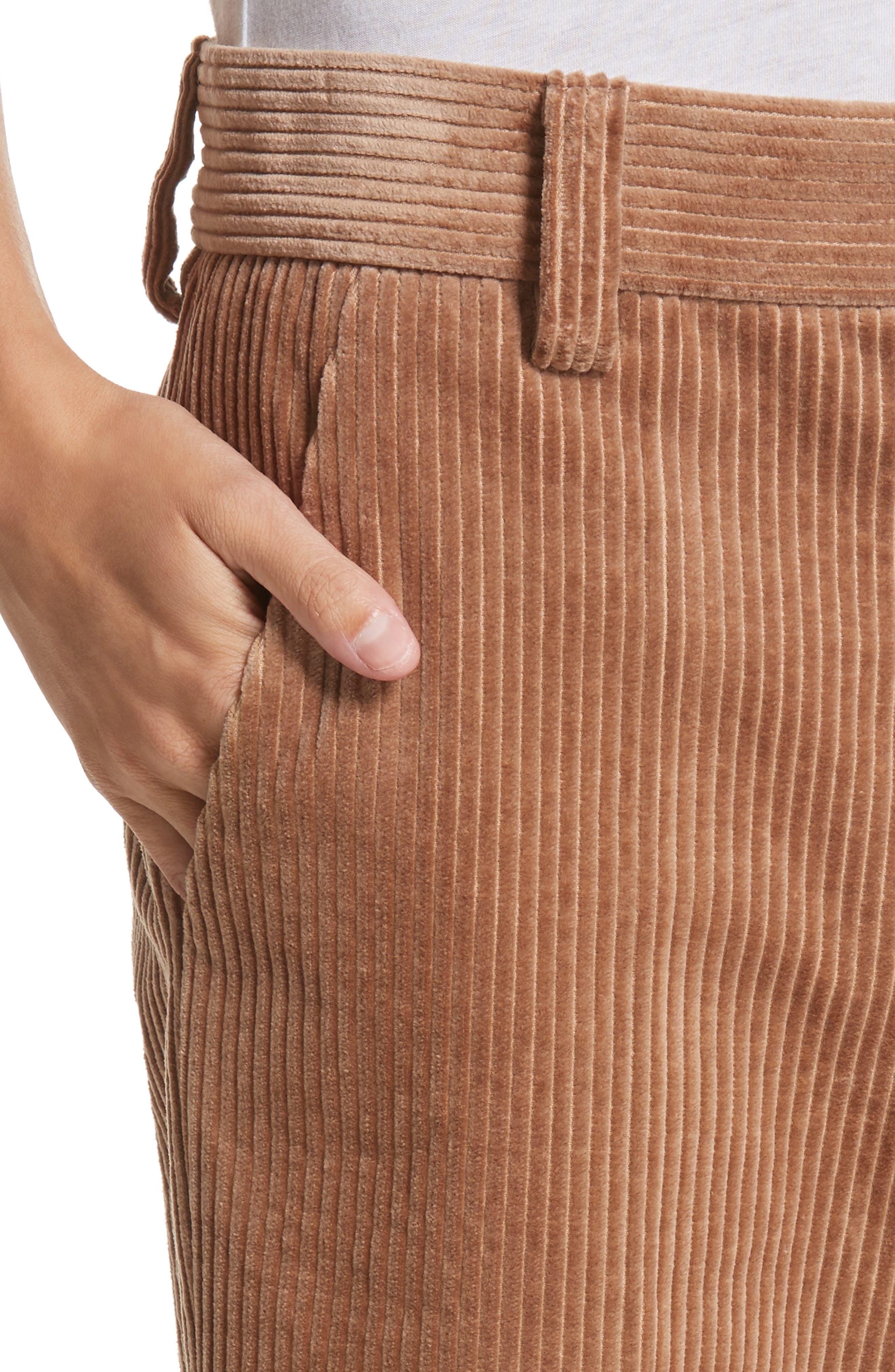 Corduroy Wide Leg Crop Pants,                             Alternate thumbnail 4, color,