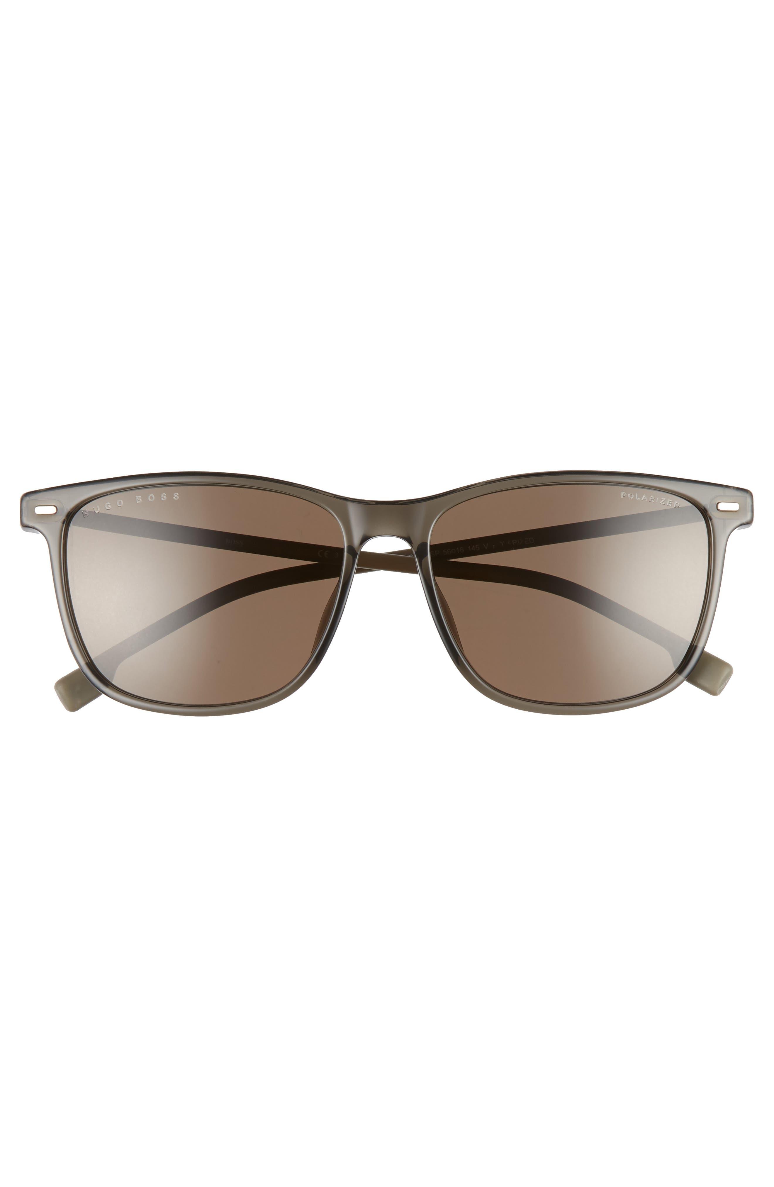 56mm Polarized Sunglasses,                             Alternate thumbnail 2, color,                             GREY BEIGE