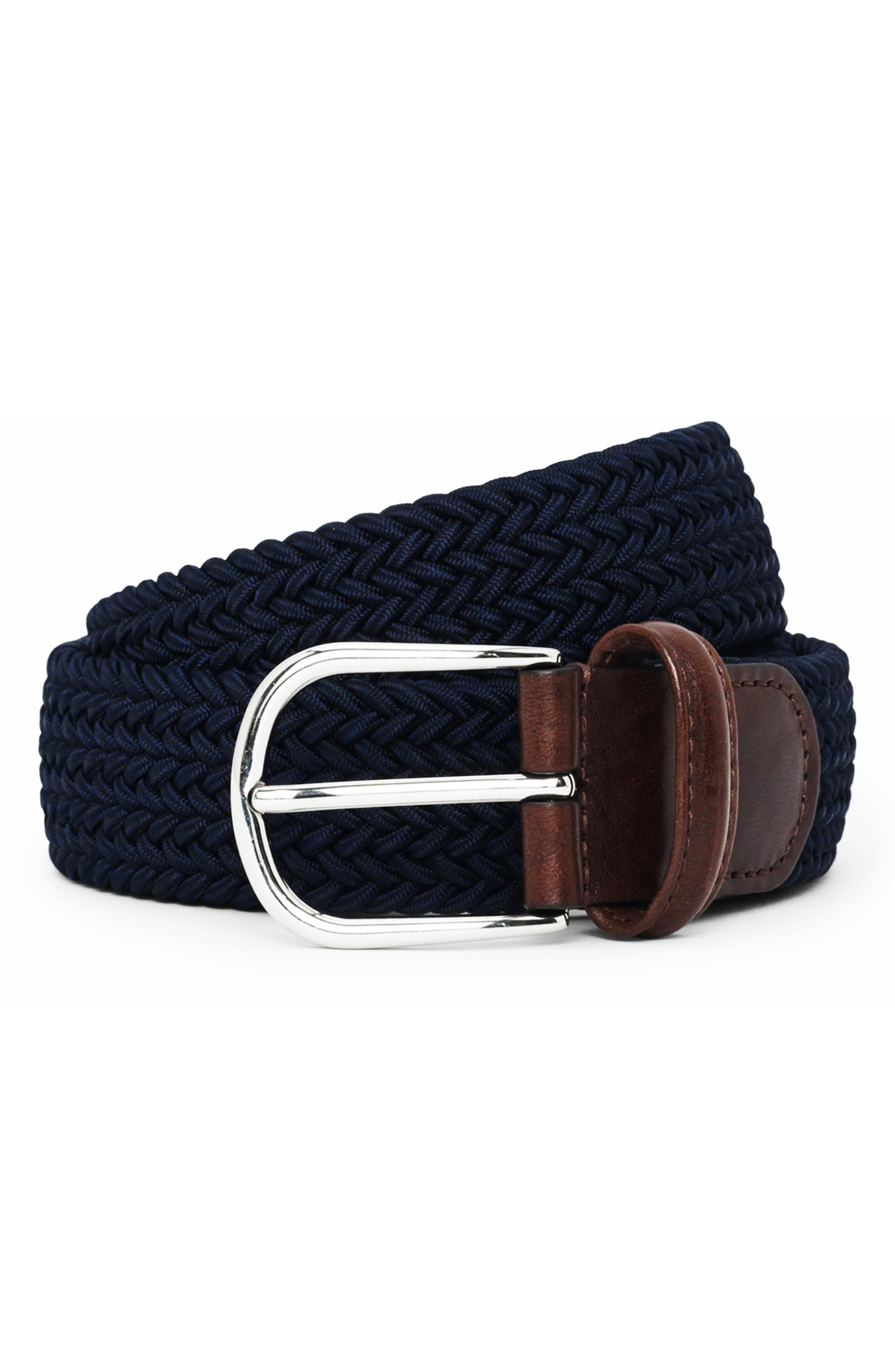 ANDERSONS Basic Stretch Woven Belt in Navy