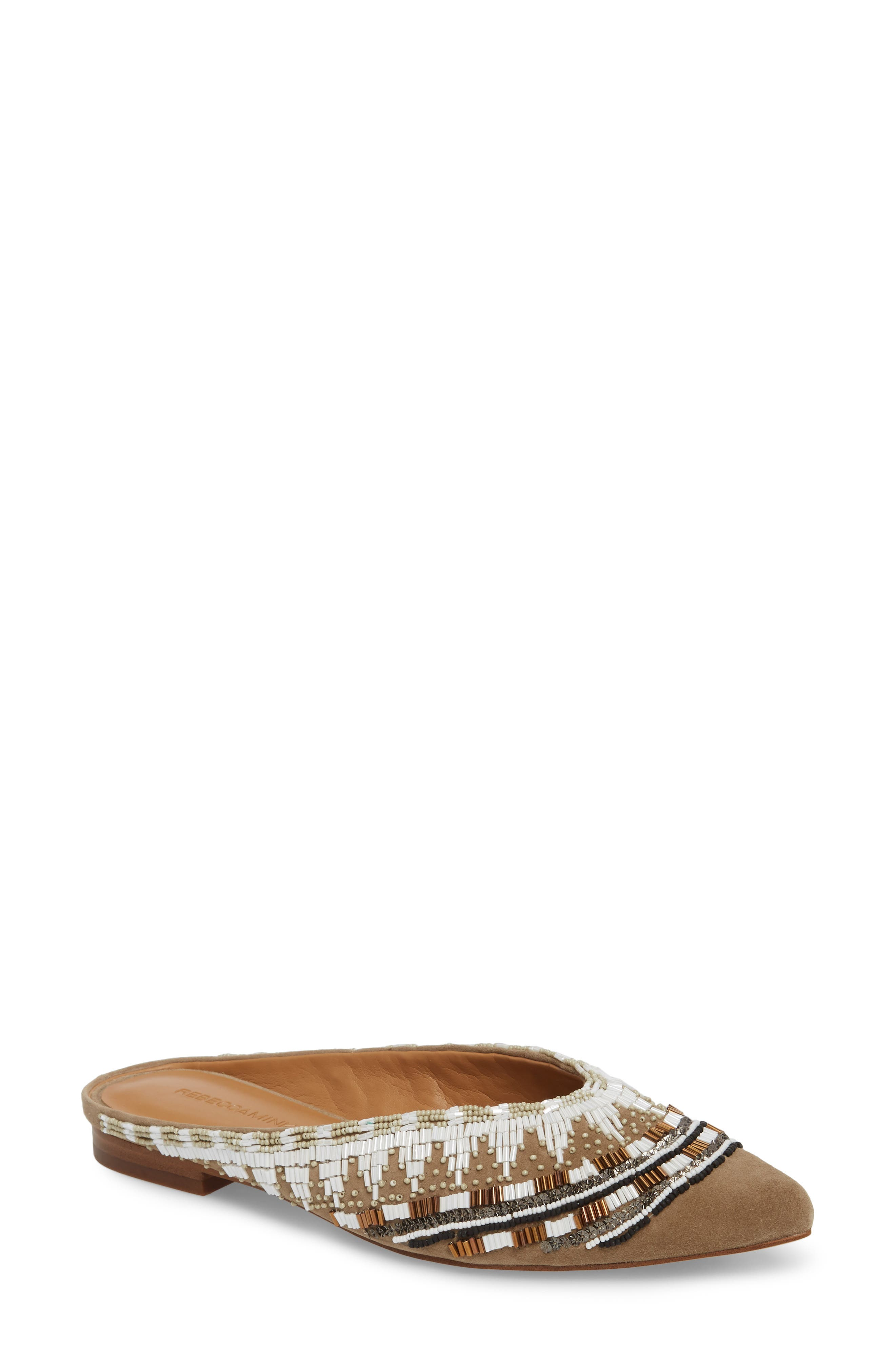 Roxane Beaded Flat Mule,                             Main thumbnail 1, color,                             TAUPE SUEDE