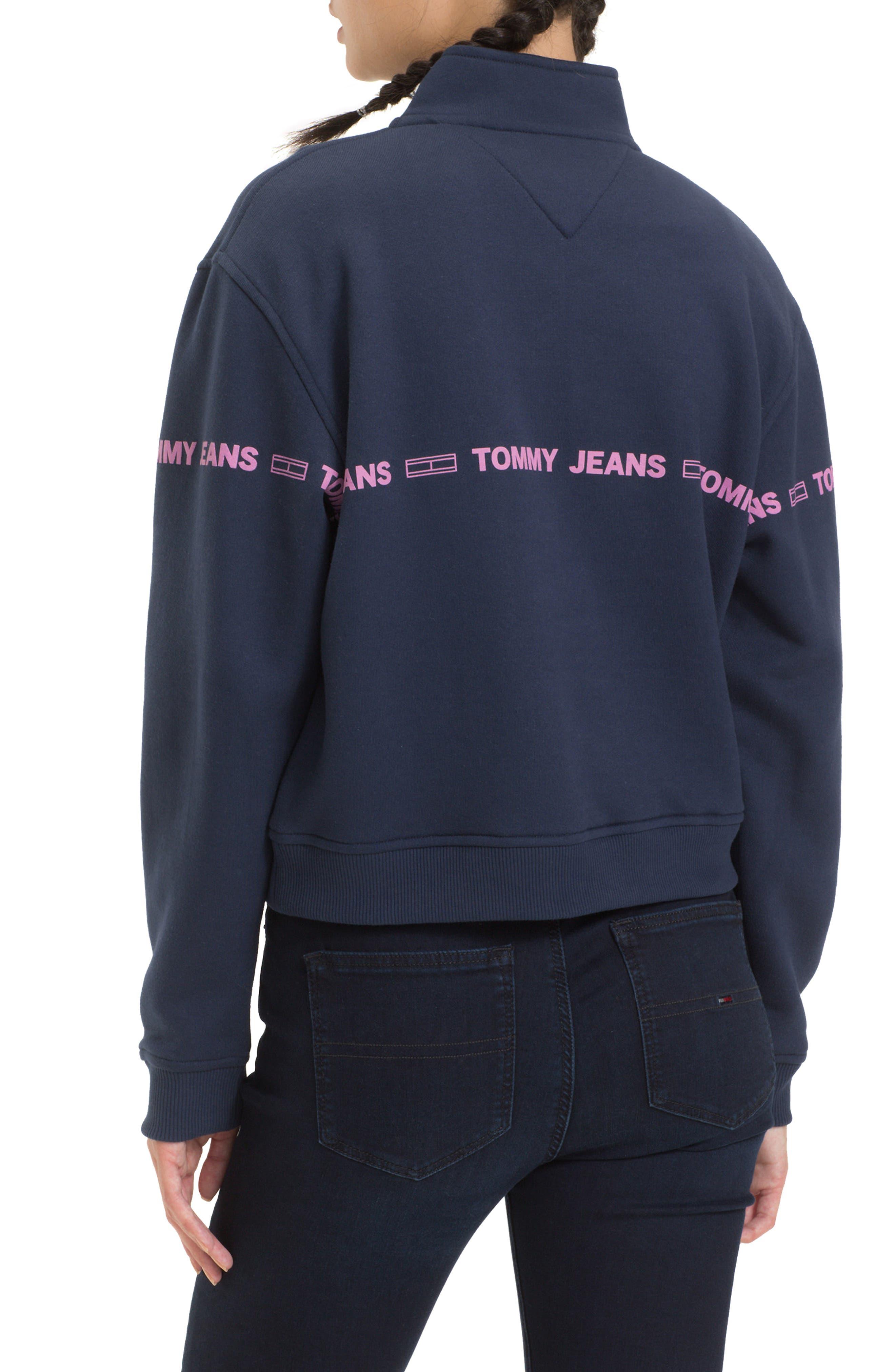 TJW Flag Logo Half Zip Pullover,                             Alternate thumbnail 2, color,                             BLACK IRIS