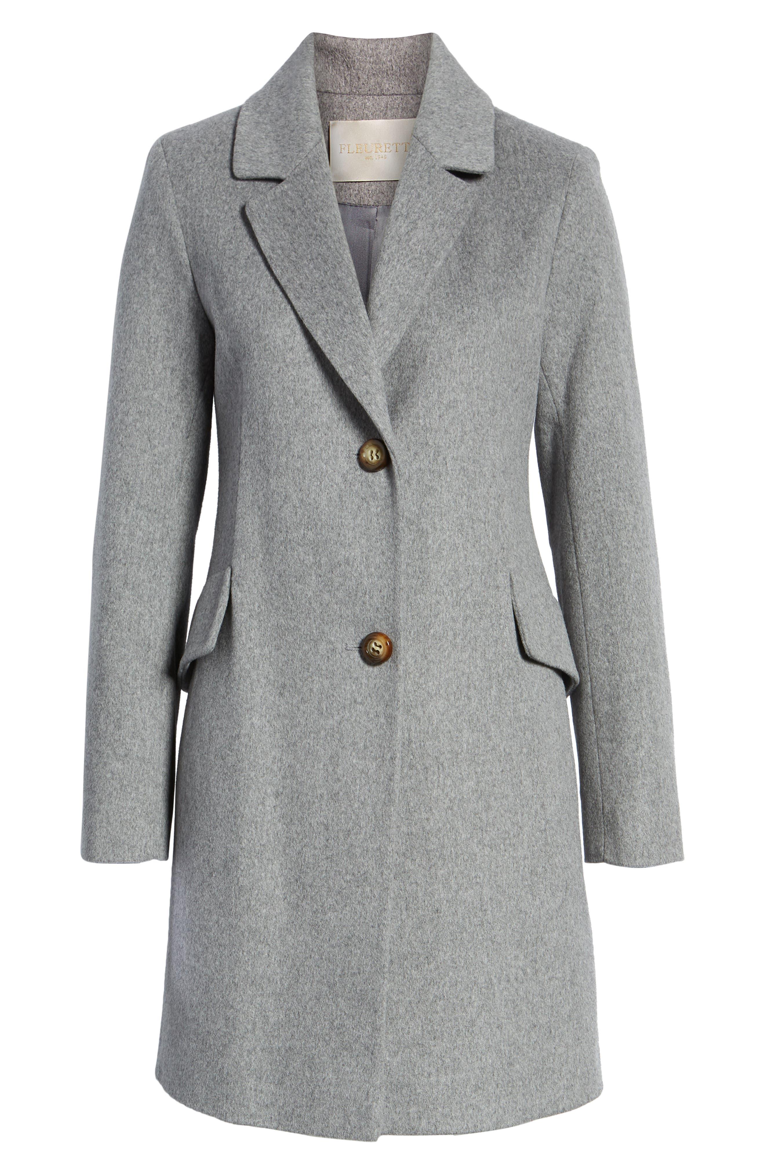 Notch Collar Wool Coat,                             Alternate thumbnail 6, color,                             GREY HEATHER