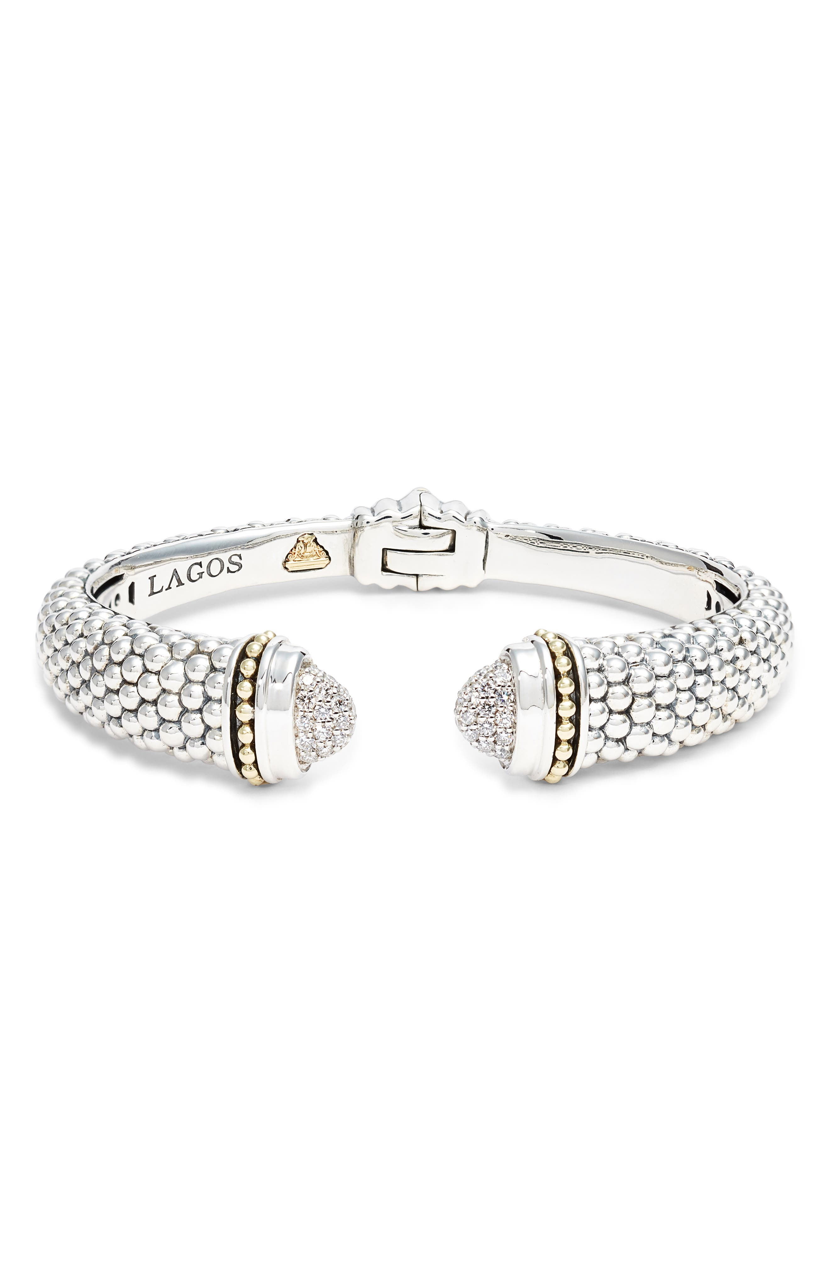 Caviar Diamond Cuff,                             Main thumbnail 1, color,                             SILVER