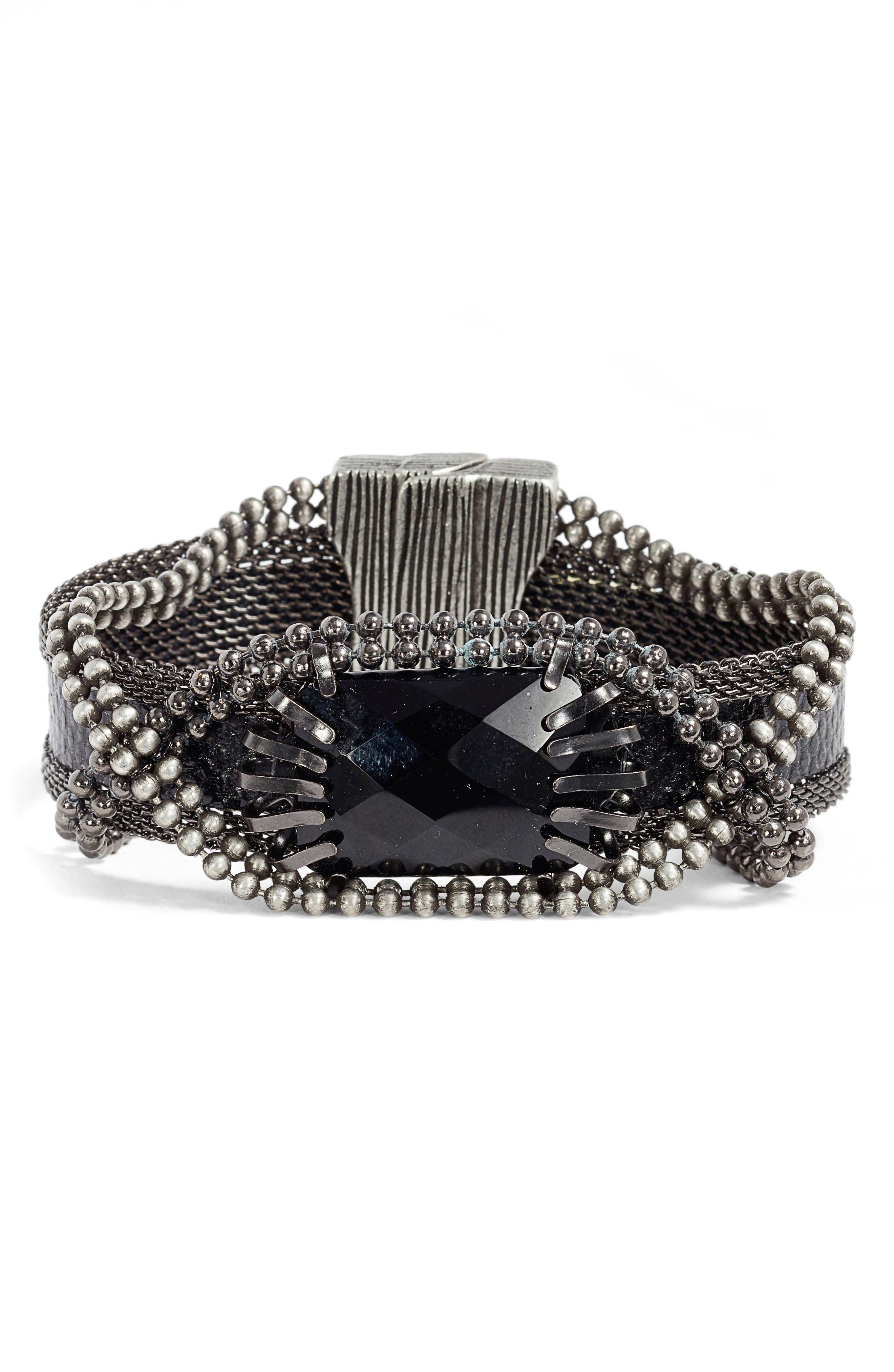 Stone & Snakeskin Bracelet,                             Main thumbnail 1, color,                             BLACK/ GUNMETAL