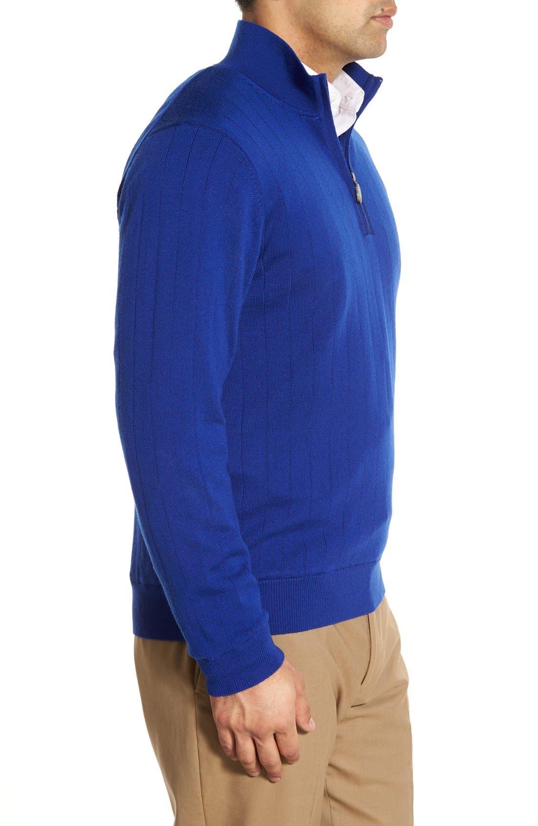 Windproof Merino Wool Quarter Zip Sweater,                             Alternate thumbnail 3, color,                             401