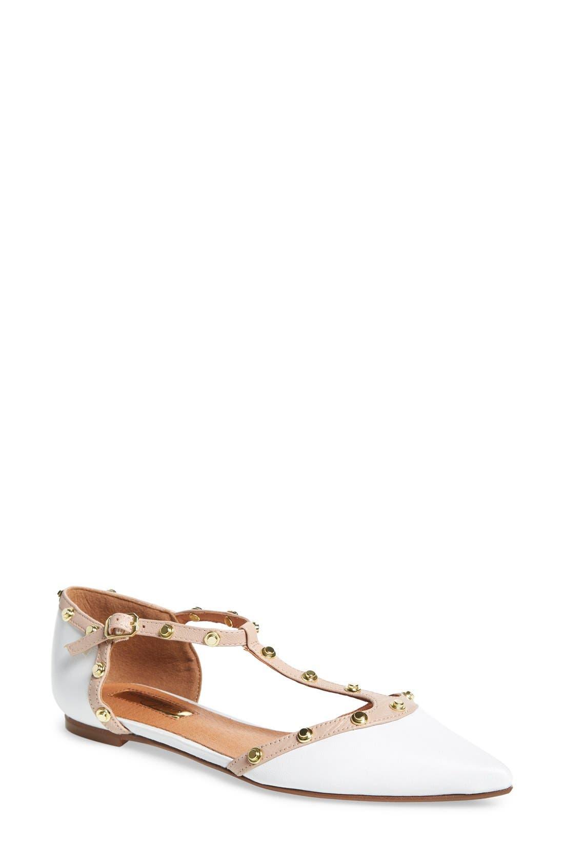 'Olson' Pointy Toe Studded T-Strap Flat,                             Main thumbnail 5, color,